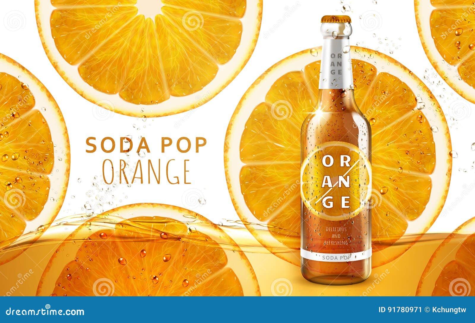 Pomarańczowa sodowanego wystrzału reklama