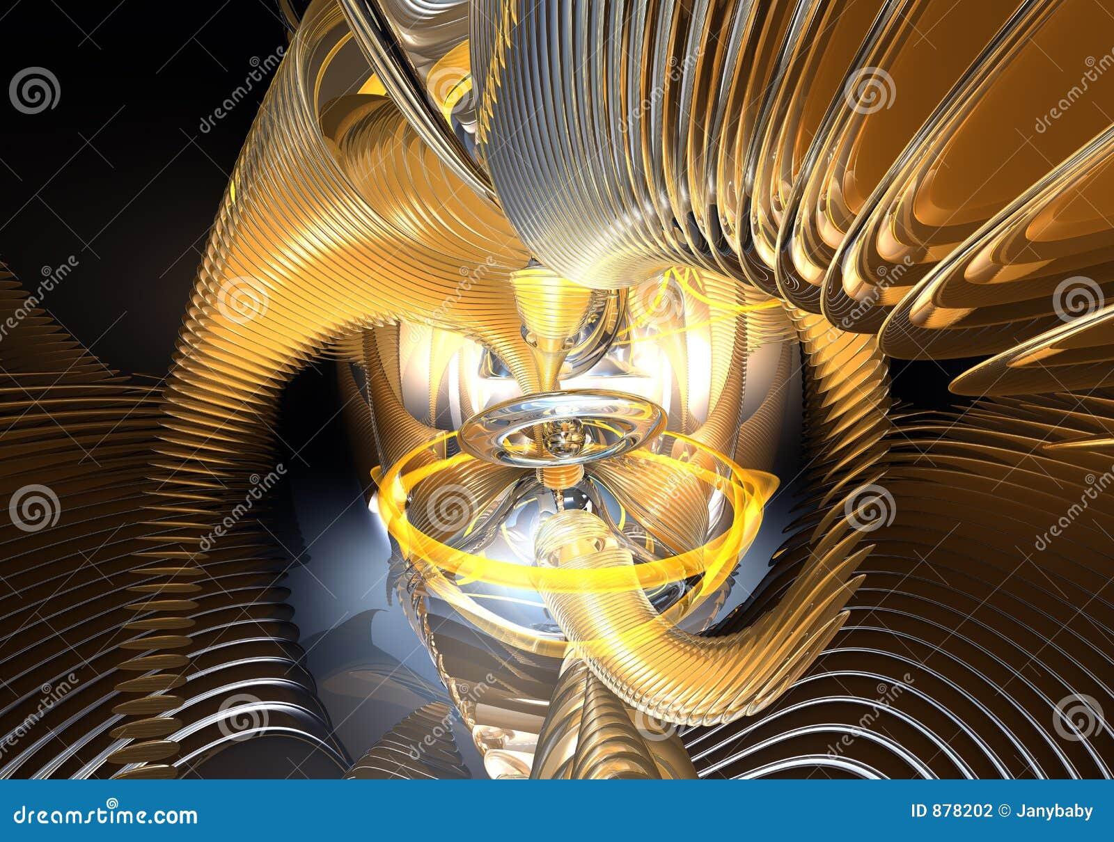 Pomarańczowe abstrakcjonistyczni pierścień przestrzeni kable