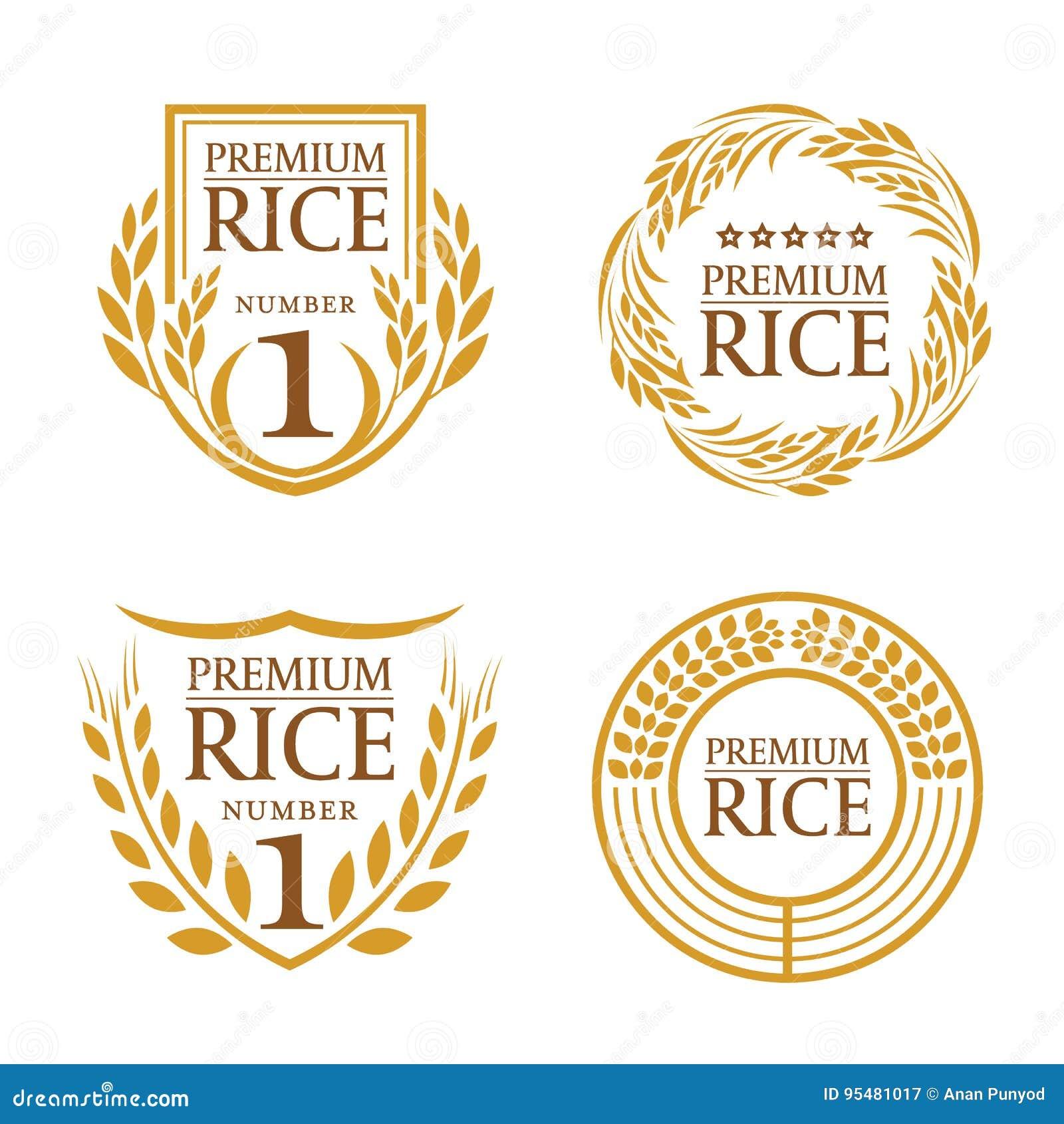 Pomarańczowego brown irlandczyków ryż naturalnego produktu sztandaru organicznie loga wektorowy projekt