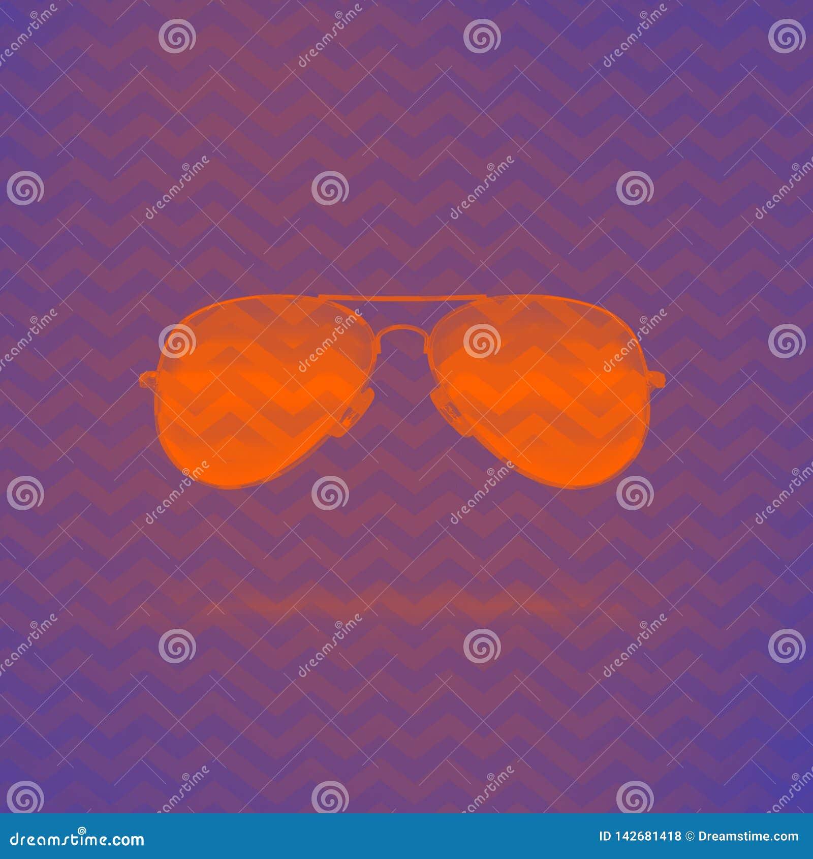 Pomara?czowi neonowi okulary przeciws?oneczni na purpurowym tle z zygzakowatym ornamentem