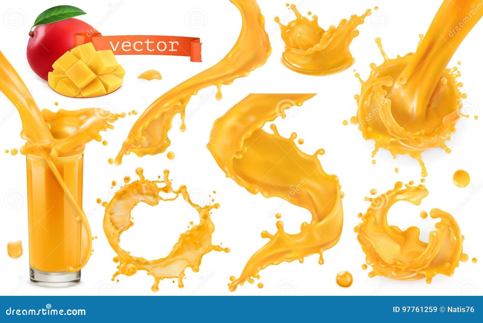 Pomarańczowy farby pluśnięcie Mango, ananas, melonowa sok kartonowe koloru ikony ustawiać oznaczają wektor trzy