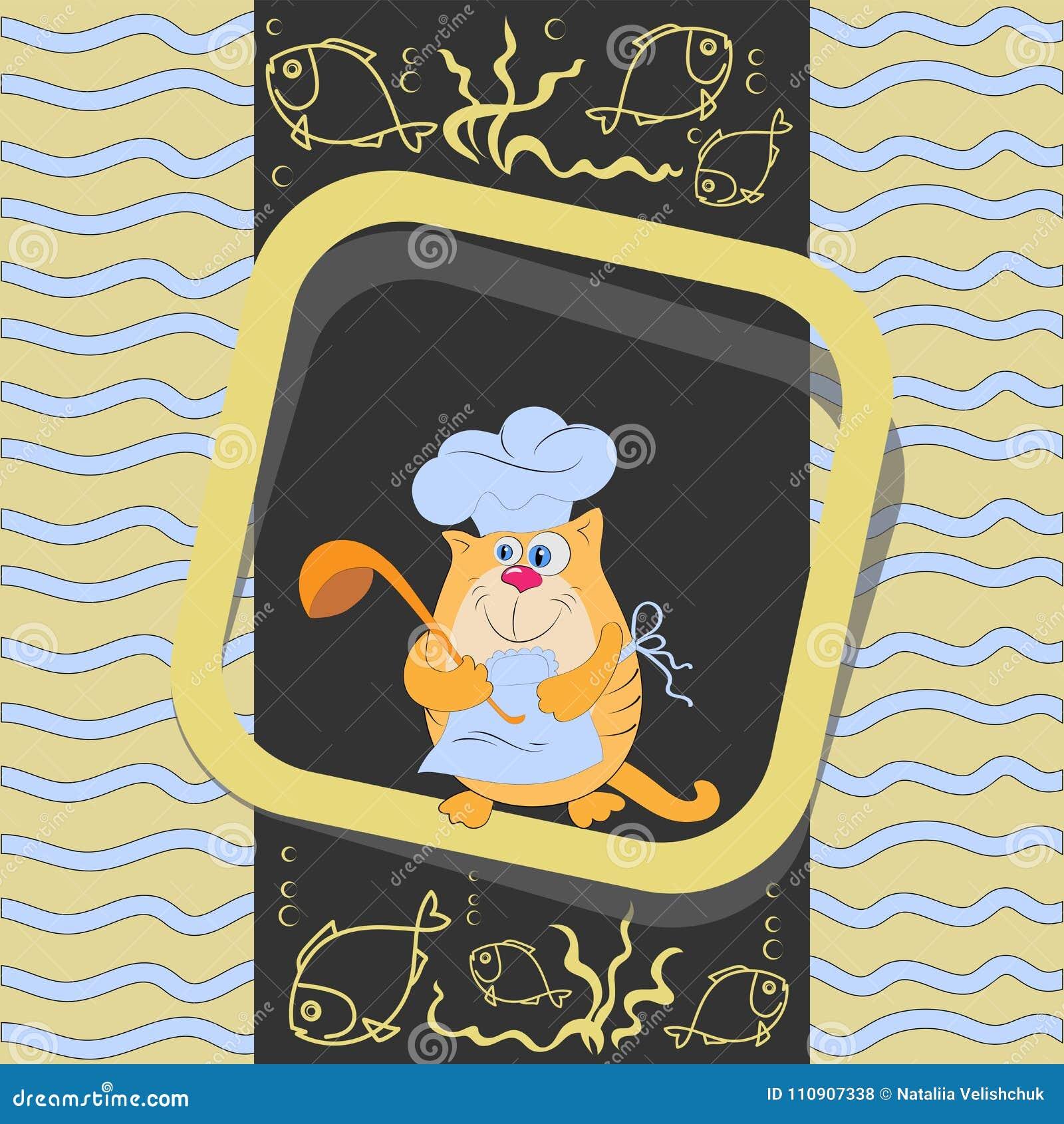 Pomarańczowy kota kucharz z ryba i kopyścią