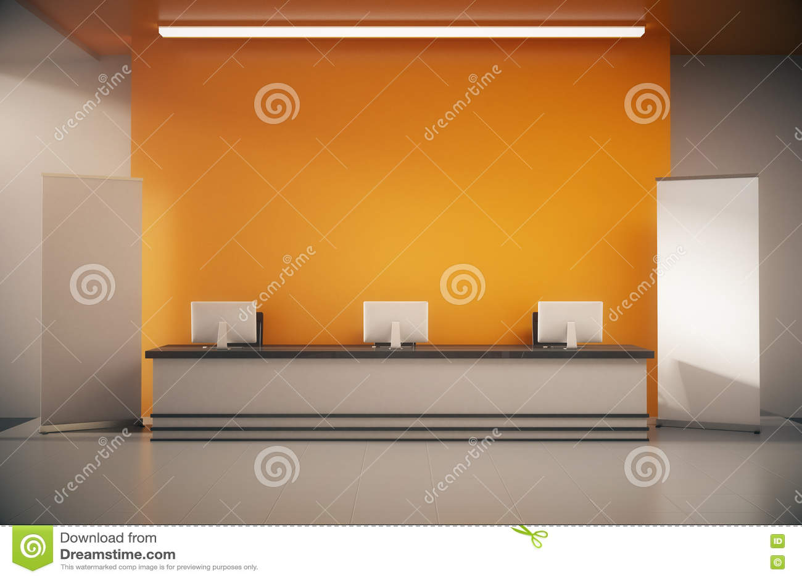 Pomarańczowy recepcyjny biurko