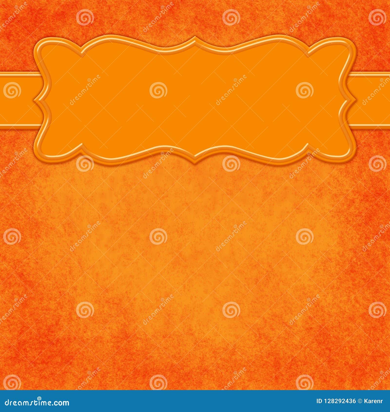 Pomarańczowy tło z chodnikowa sztandarem