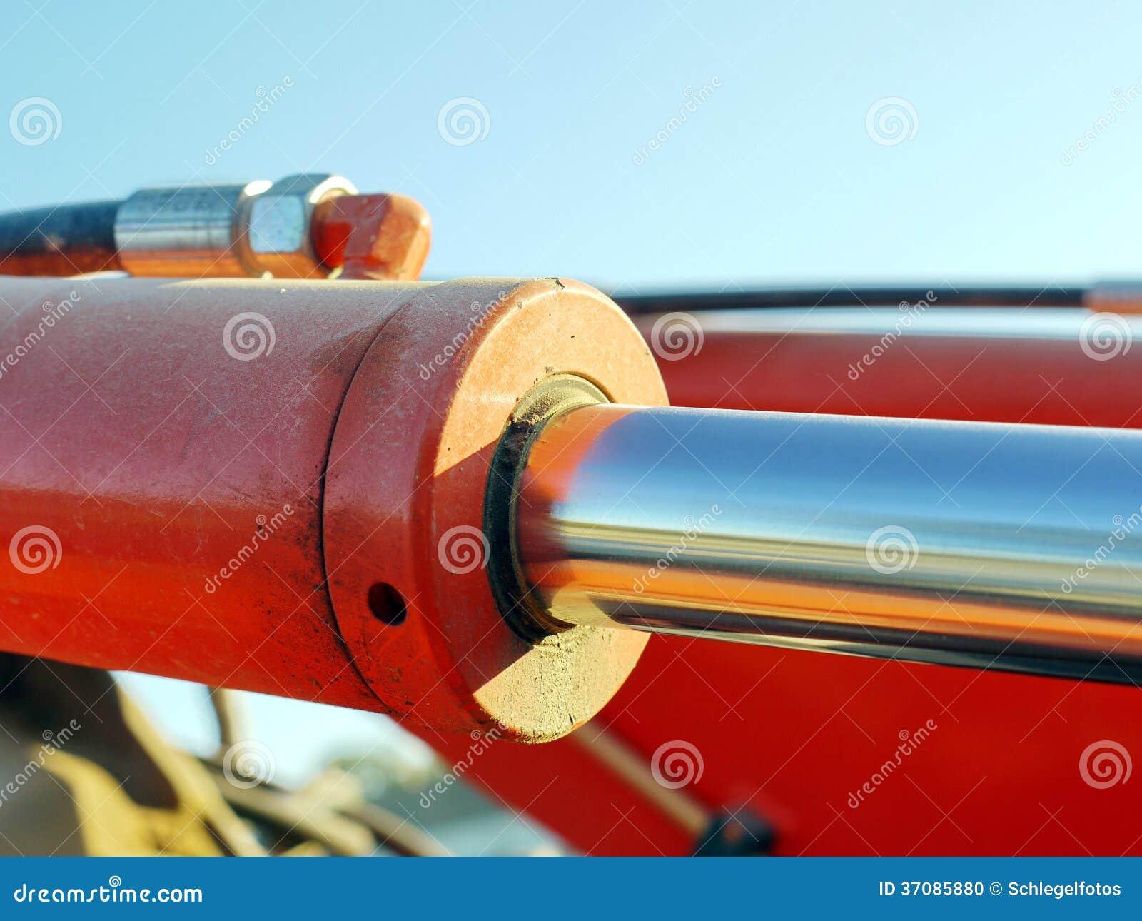 Download Pomarańczowa Hydrauliczna Butla Zdjęcie Stock - Obraz złożonej z heavy, ekskawator: 37085880