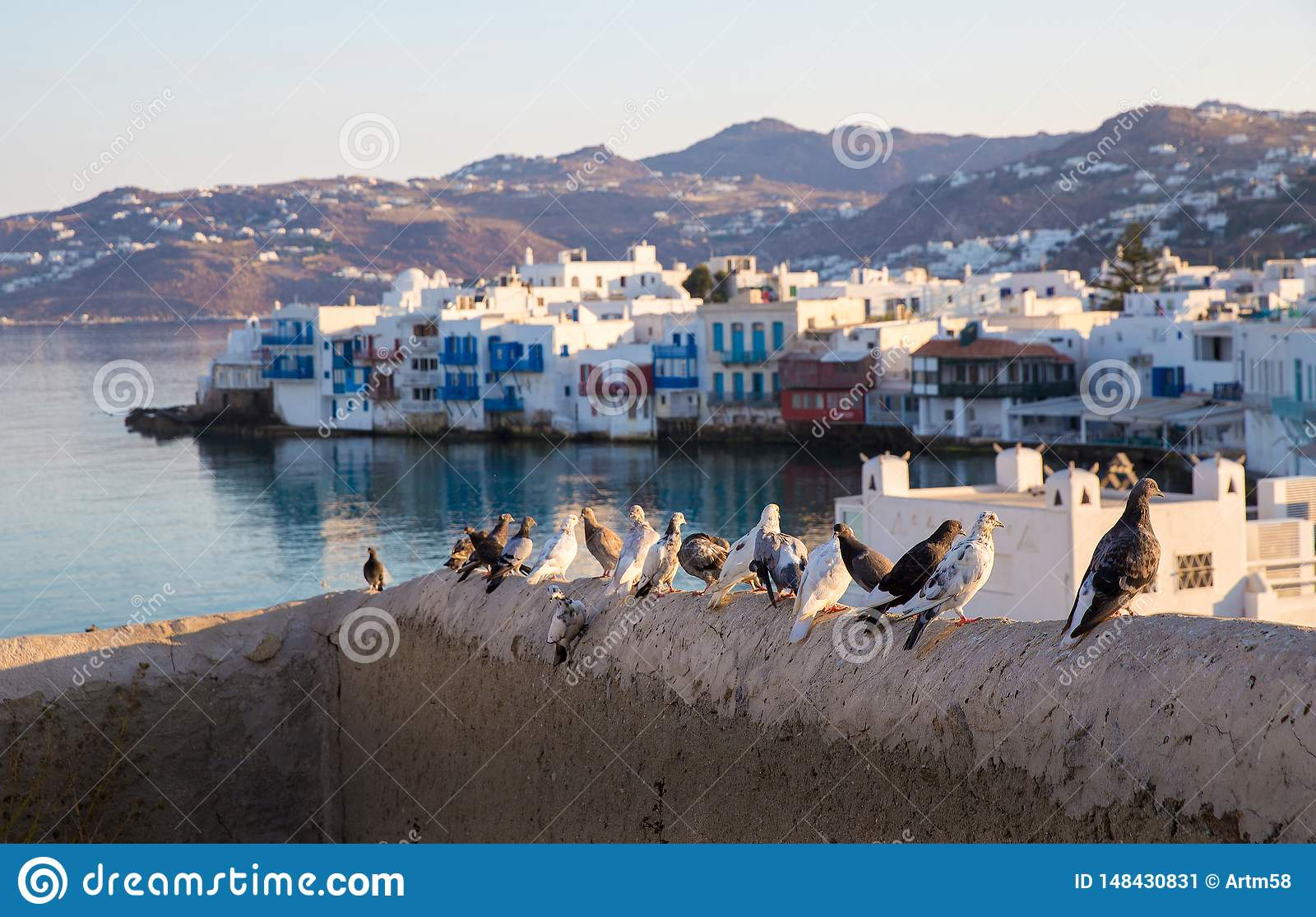 Pombas na ilha grega Mykonos do fundo