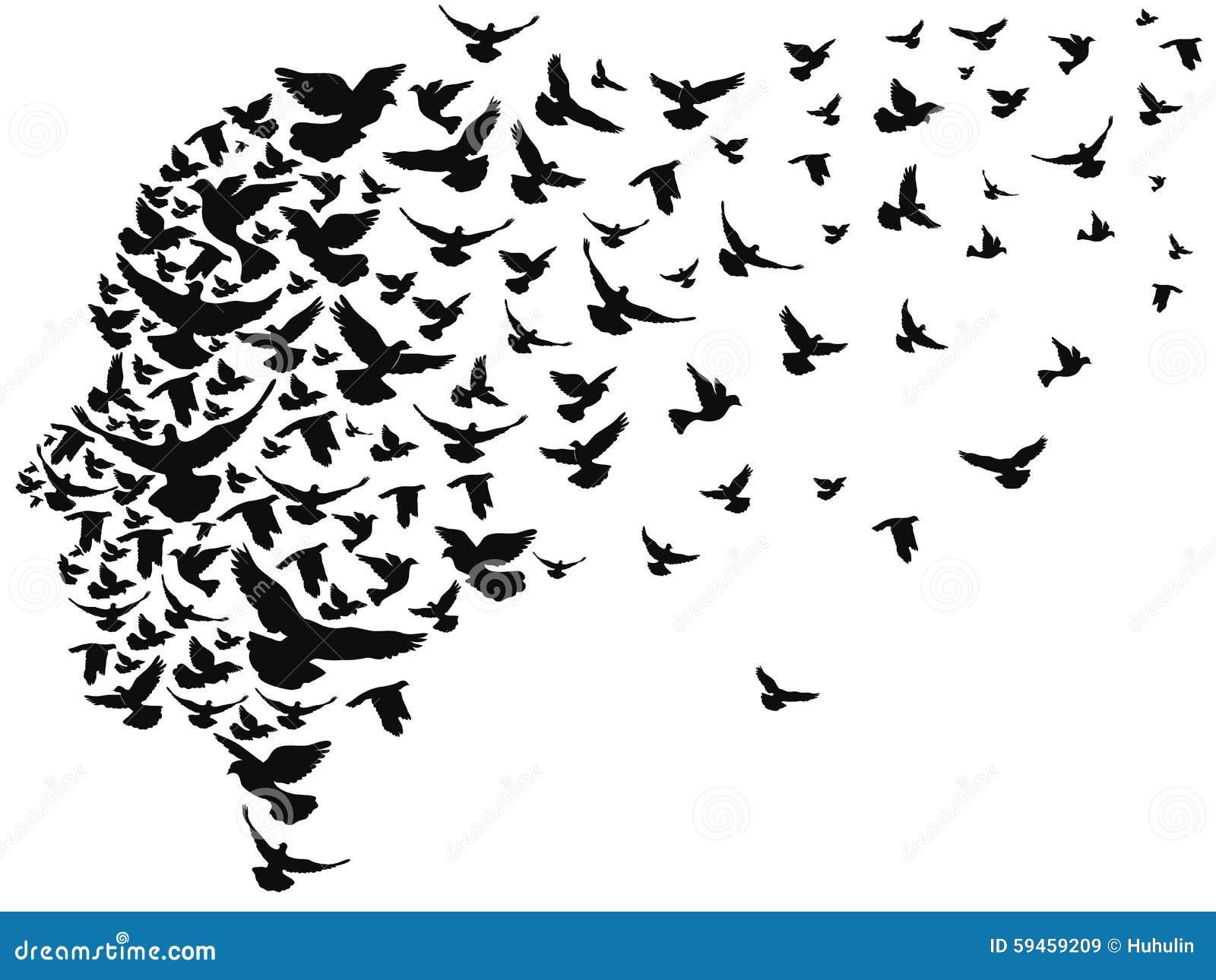 Pombas que voam afastado com cabeça humana