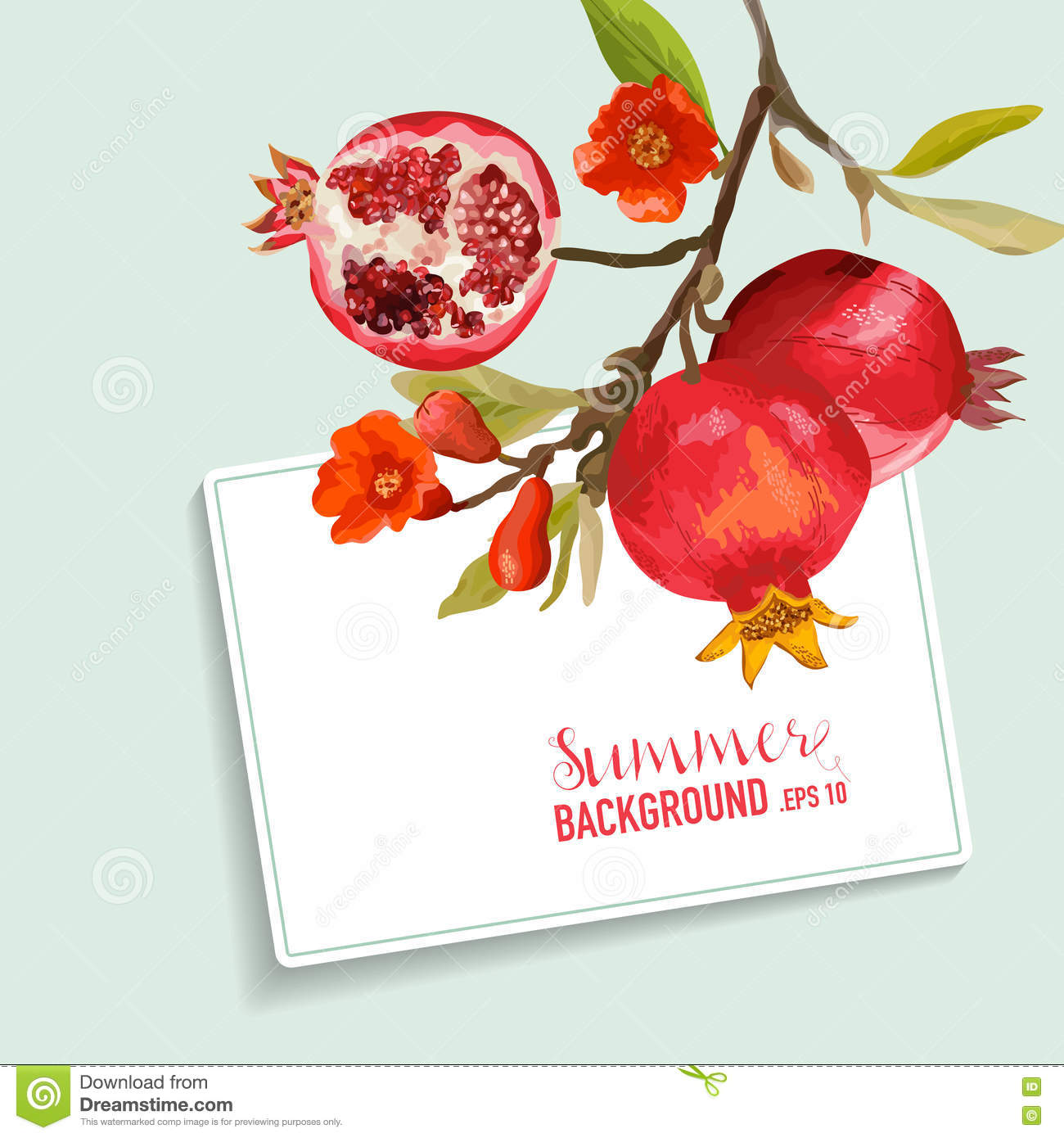 Pomegranate And Flowers Card. Fruit Background. Wedding Invitation ...