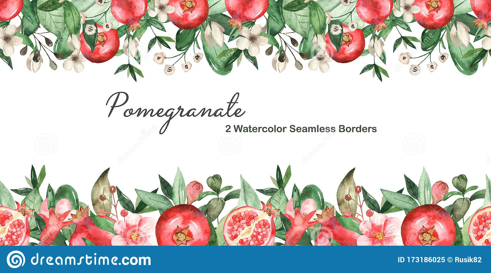 2 Watercolor Seamless Border With Pomegranate Stock ...
