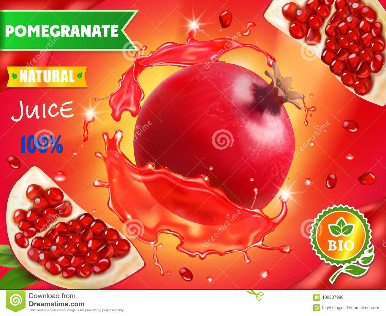 Pomegranate juice ads, realistic fruit in red juice advertising