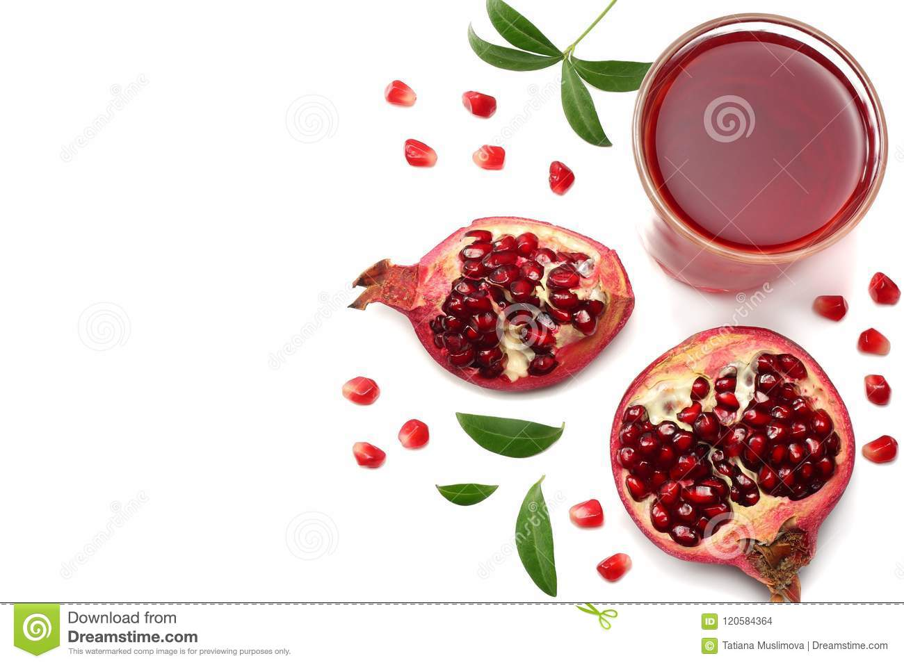 Pomegranate Juice With Pomegranate Isolated On A White Background