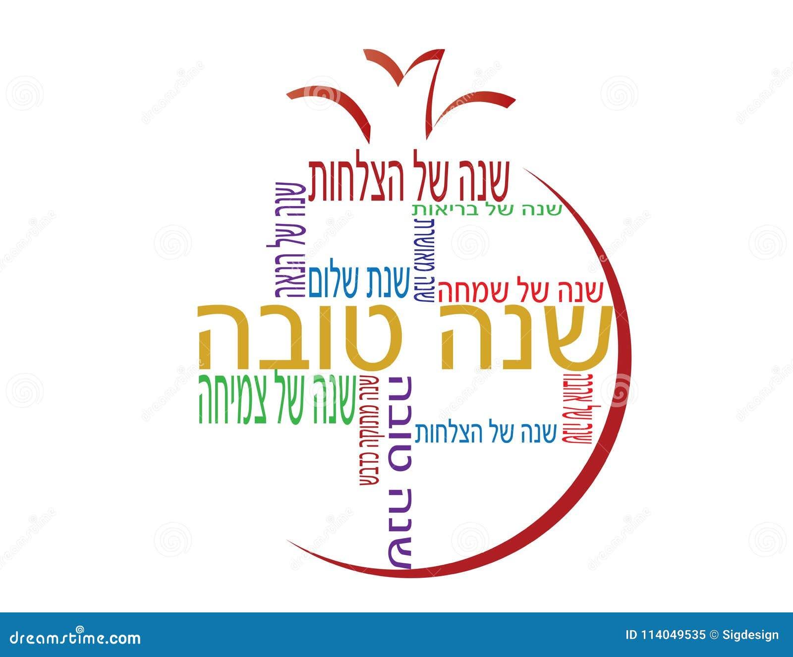 Pomegranate Shape Shana Tova Hebrew Banner With Different Hebrew