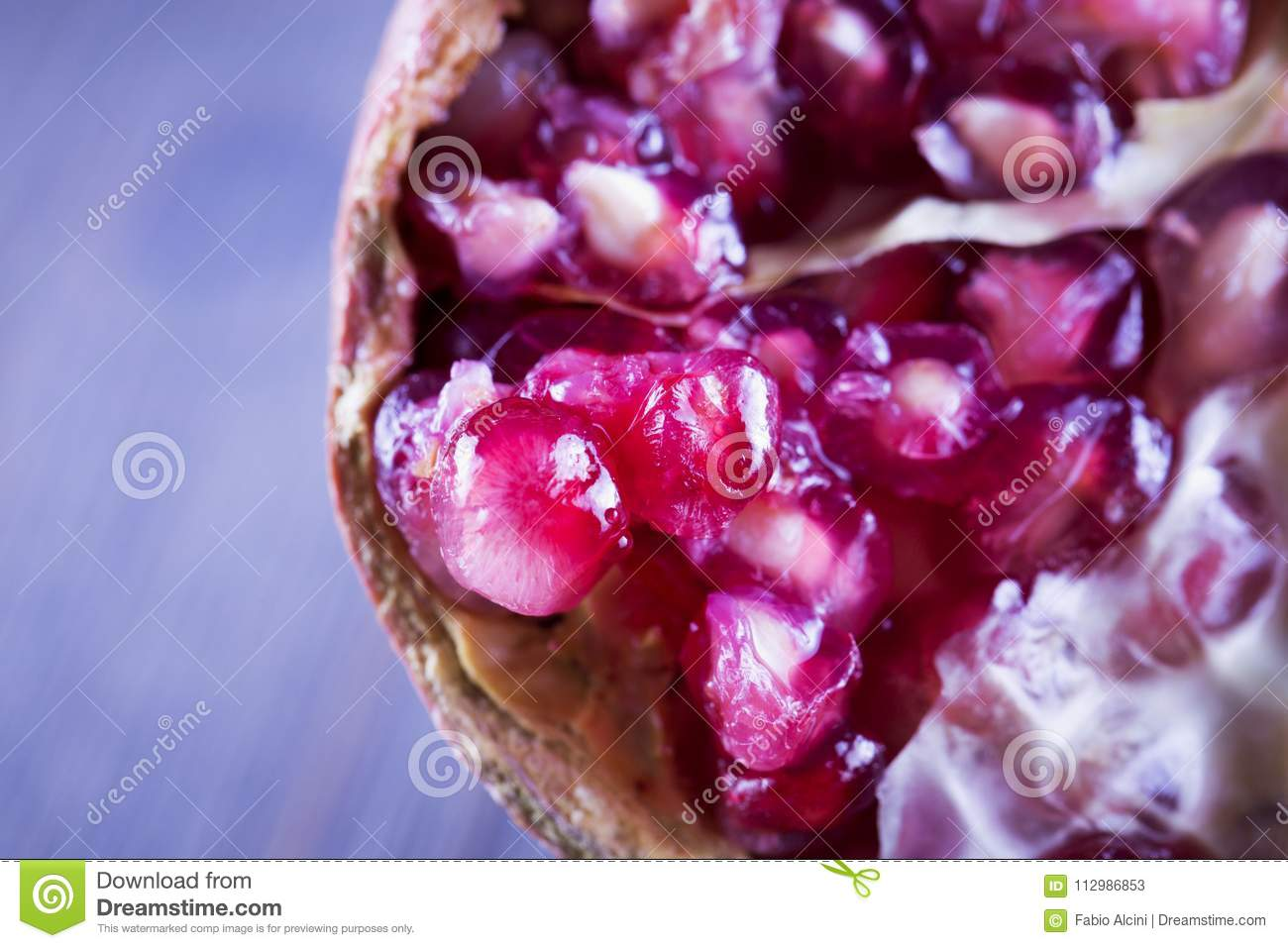 Pomegranate in strict close up