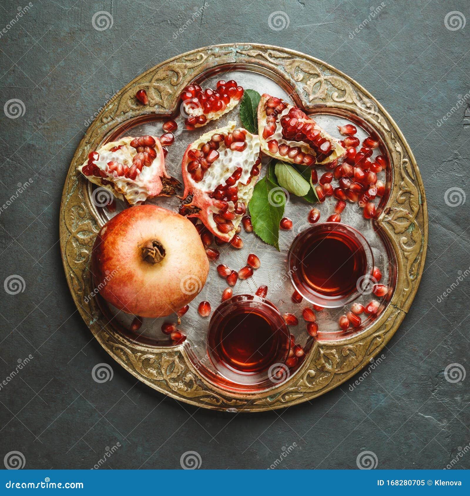 Pomegranate Tea On Dark Background, Flat Lay Stock Image ... Persian Pomegranate Tea