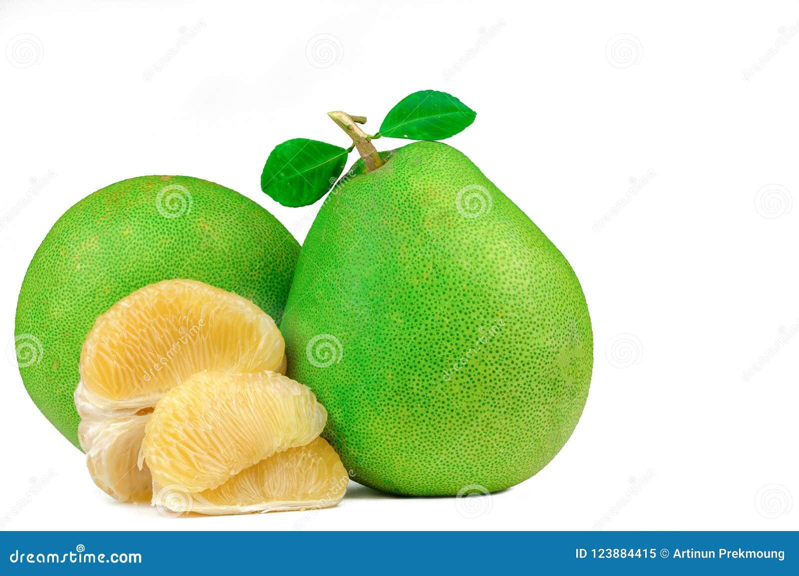 Pomelo πολτός χωρίς σπόρους που απομονώνονται στο άσπρο υπόβαθρο Pomelo της Ταϊλάνδης φρούτα Φυσική πηγή βιταμίνης C και καλίου Υ