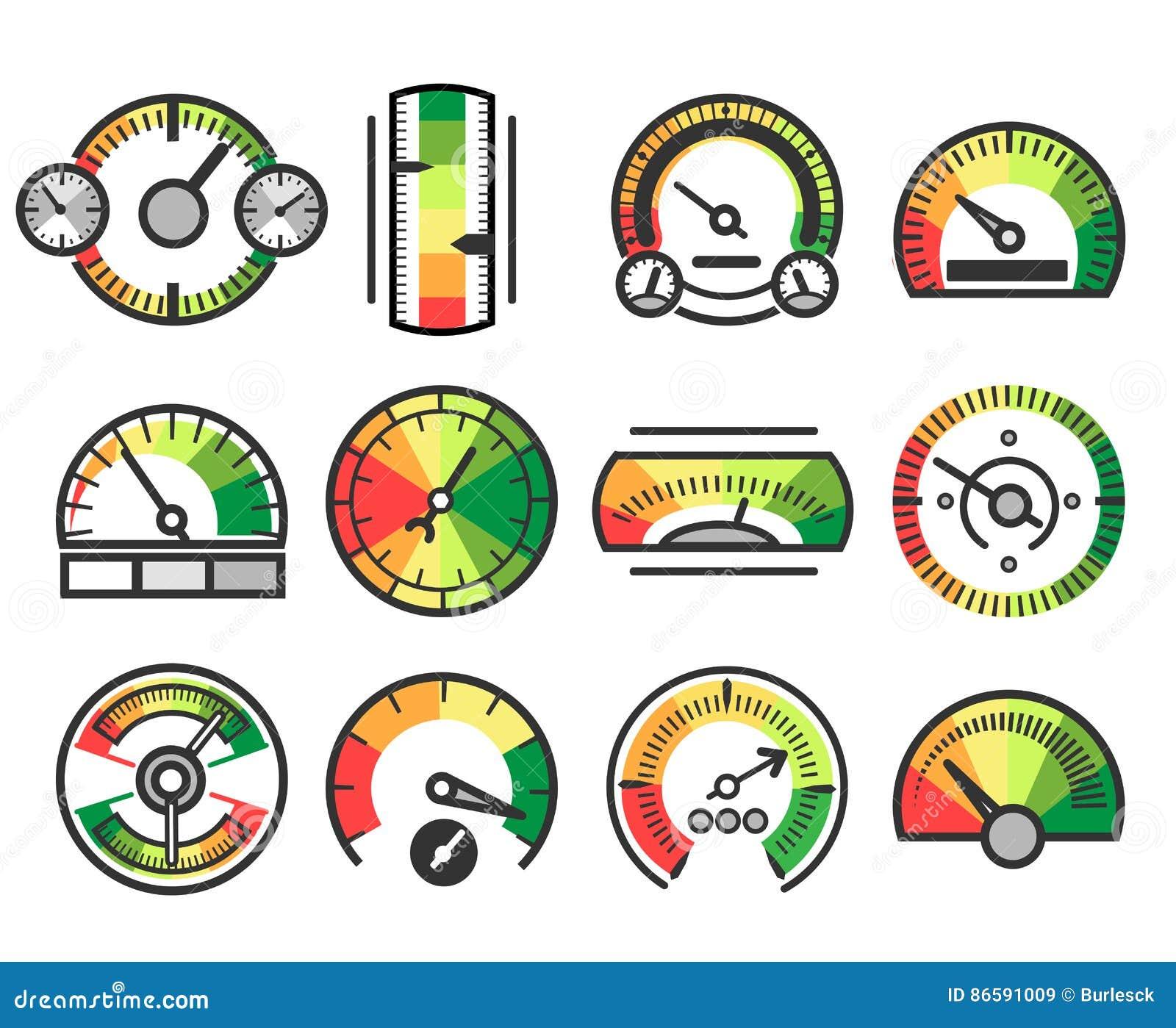 Pomiarowego wymiernika przyrządu wektoru ikony Pomiar i miara, równego wskaźnika metr podpisujemy