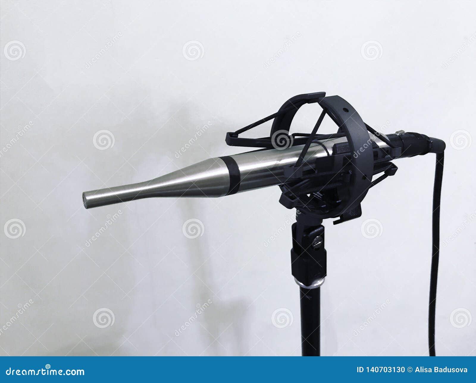 Pomiarowy mikrofon przy rozsądnym studiiem na białym tle