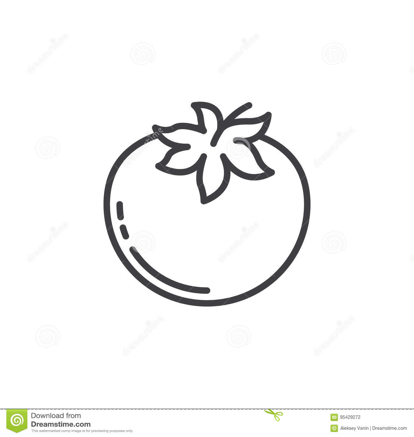 Pomidor kreskowa ikona, konturu wektoru znak, liniowy piktogram odizolowywający na bielu