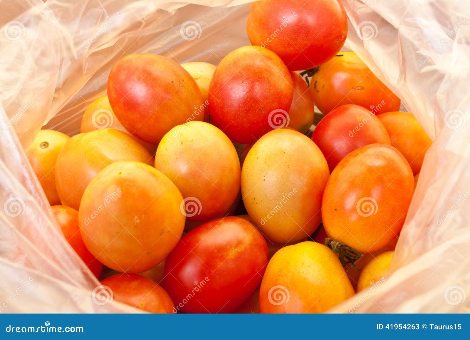 Pomidory w plastikowym worku