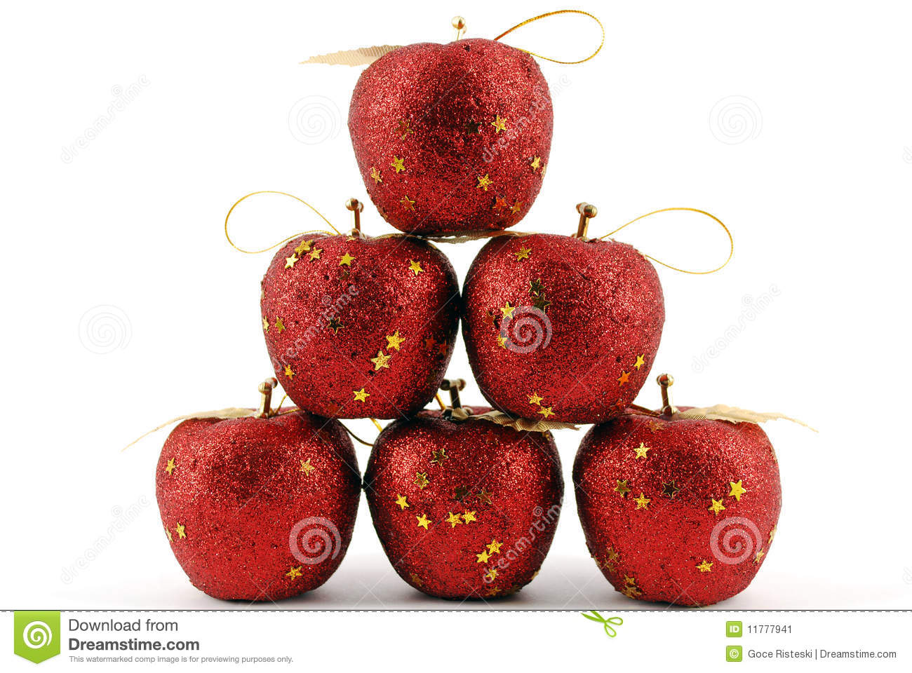 Pomme de rouge de d coration de no l image stock image for Decoration pomme rouge