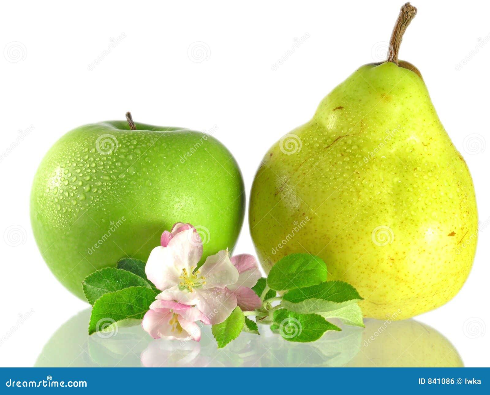 Pomme et poire vertes