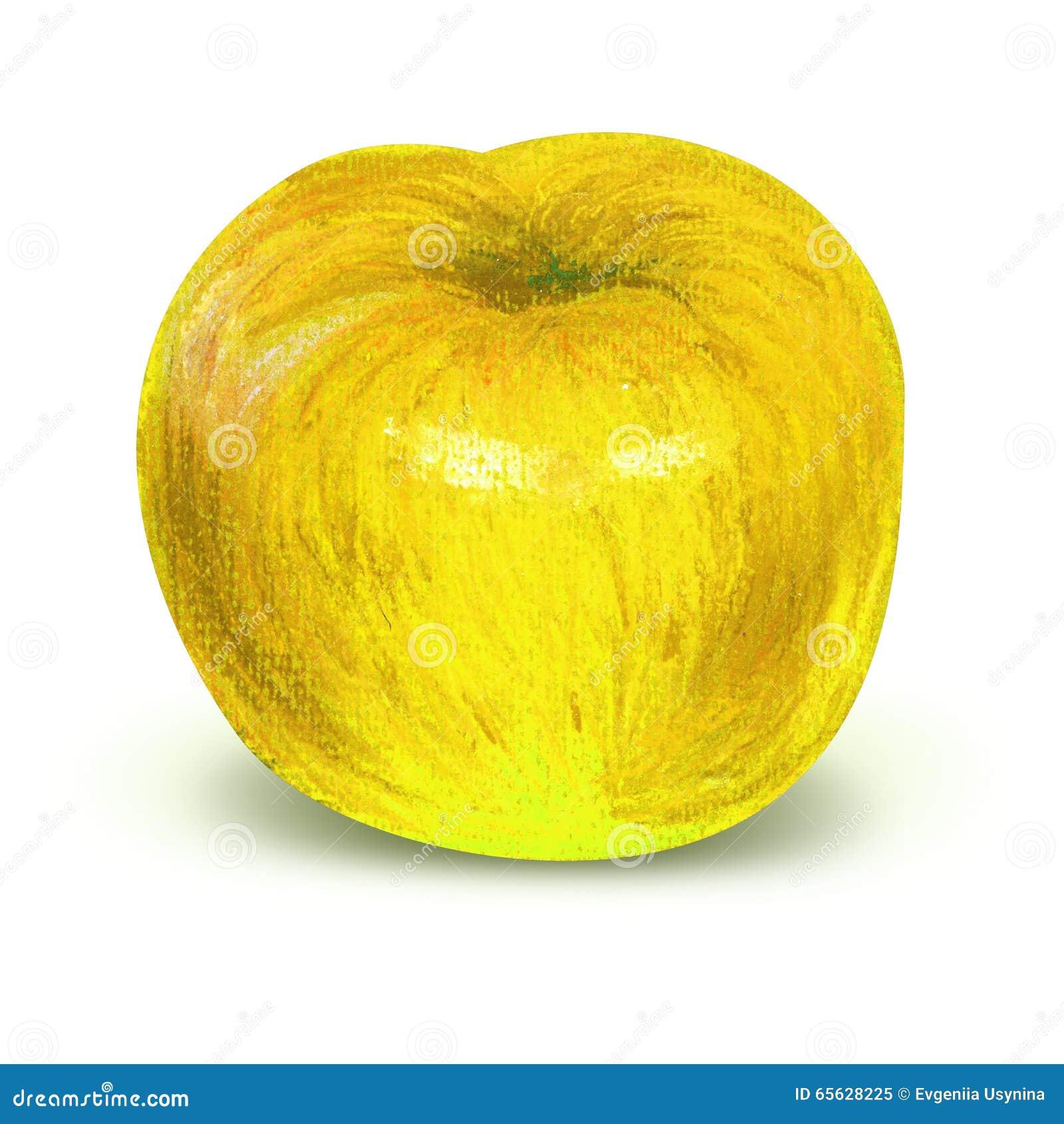 Pomme jaune peinte avec le chemin de travail