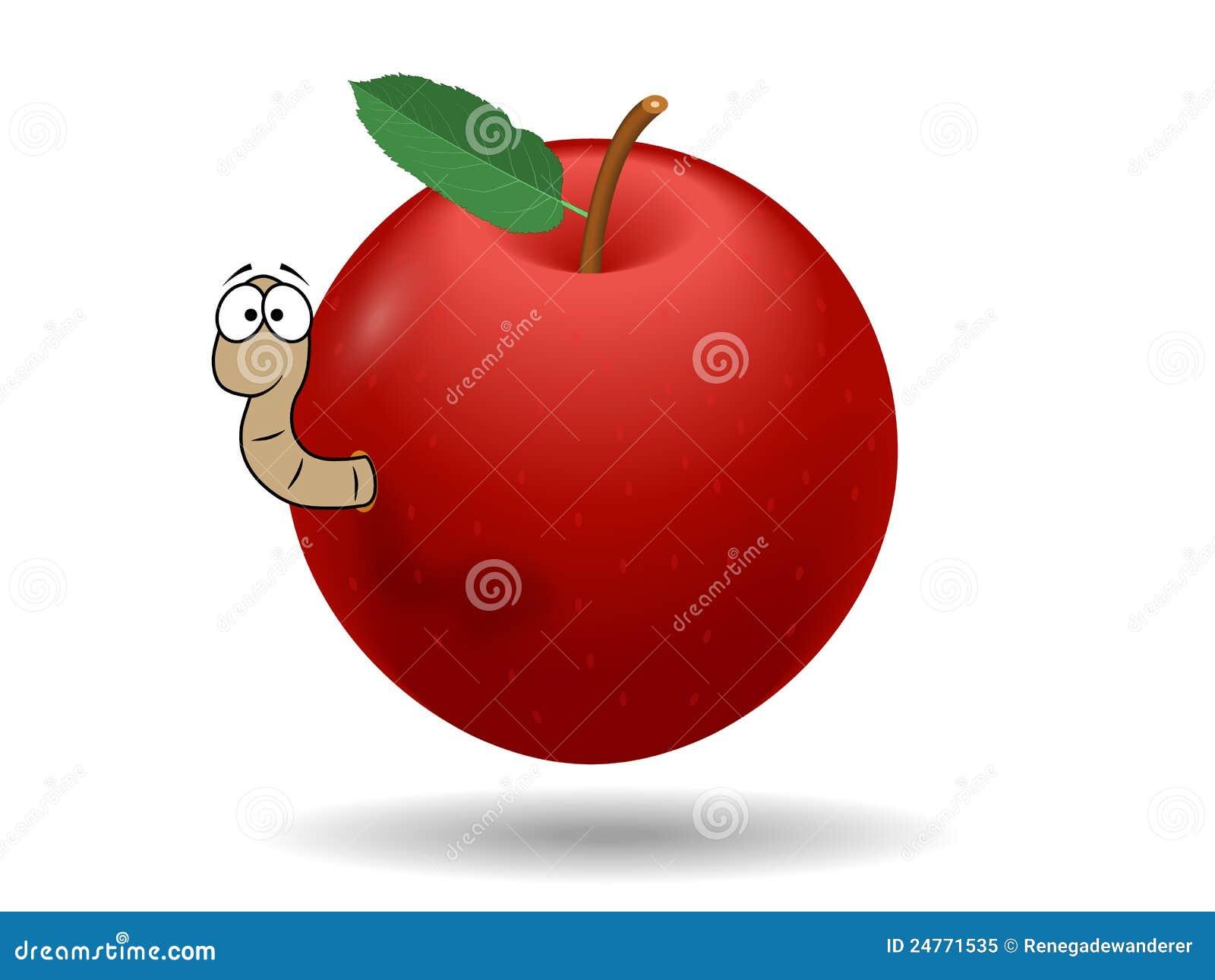 Pomme rouge avec le ver de terre illustration de vecteur illustration du fruit worm 24771535 - Dessin de ver de terre ...
