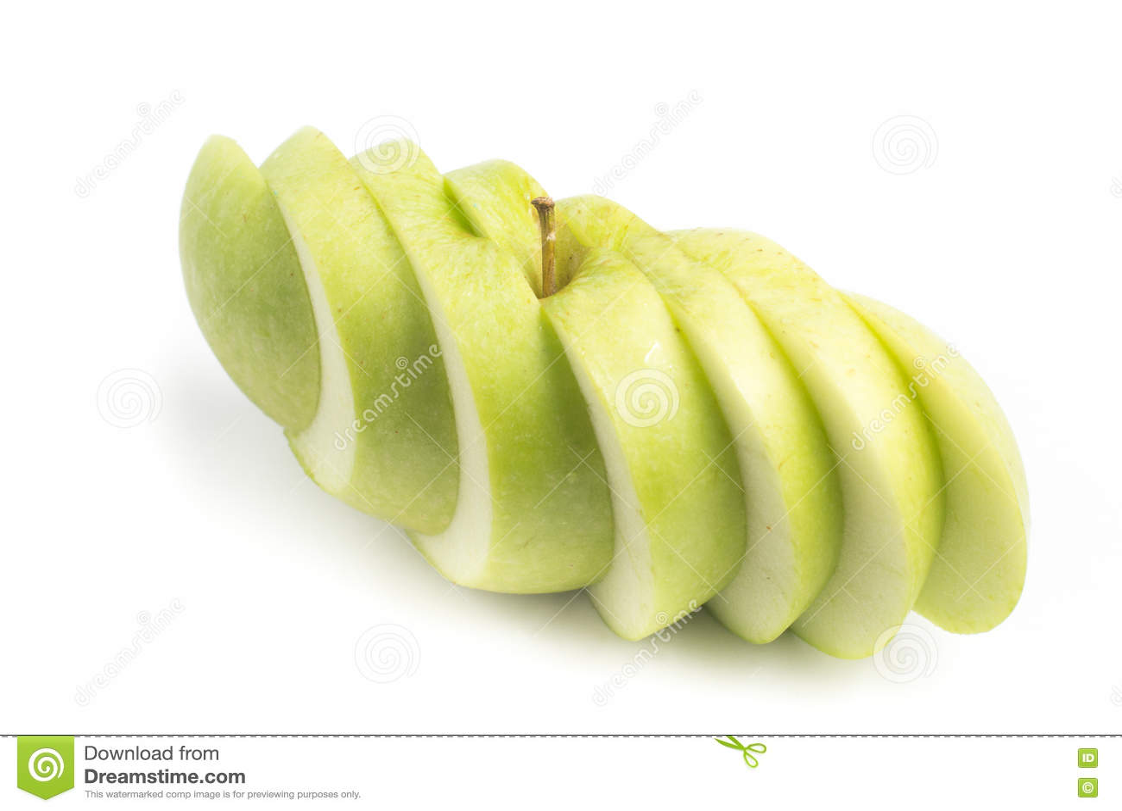 Pomme verte coupée en tranches