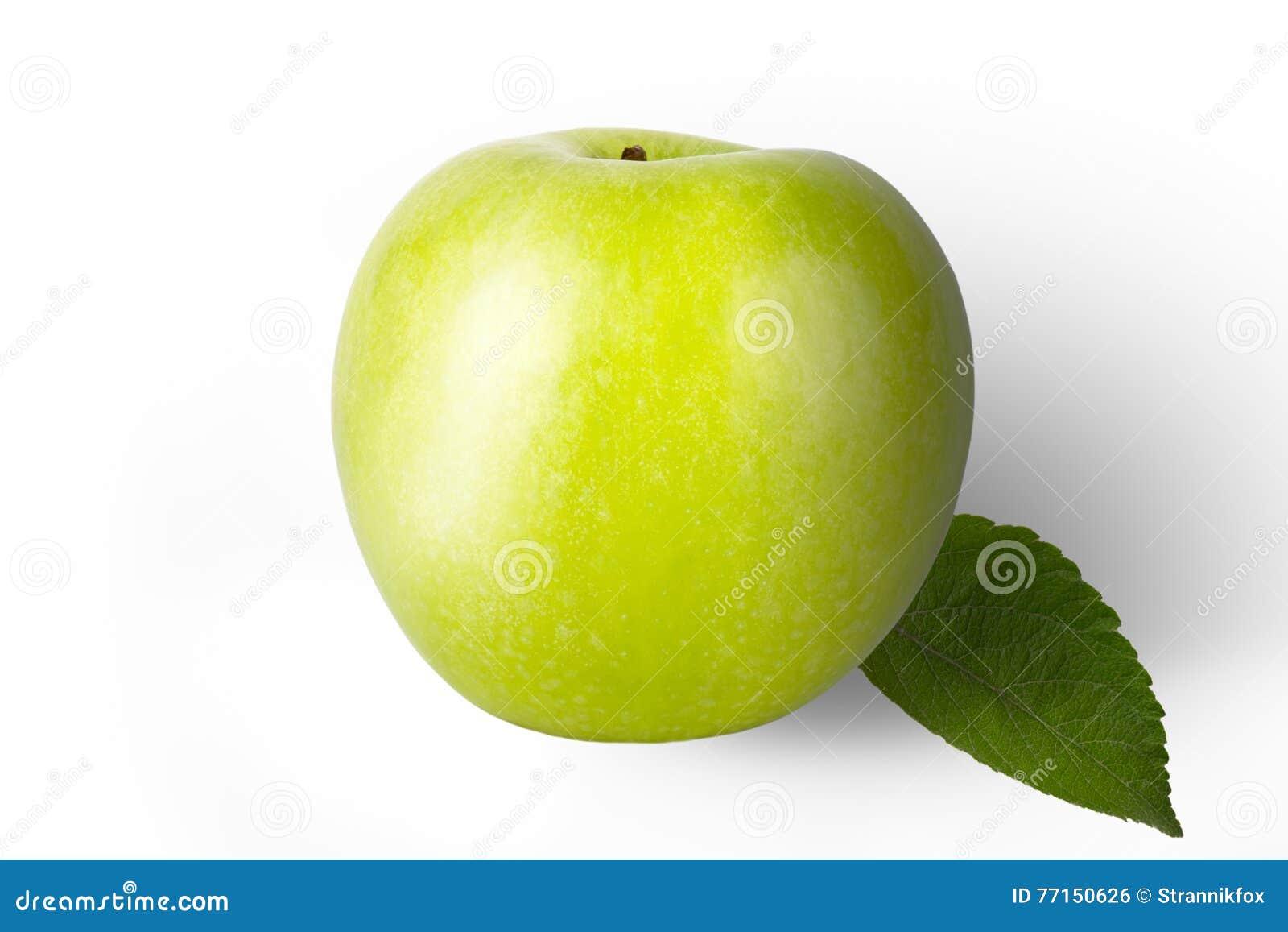Pomme verte fraîche d isolement sur un fond blanc