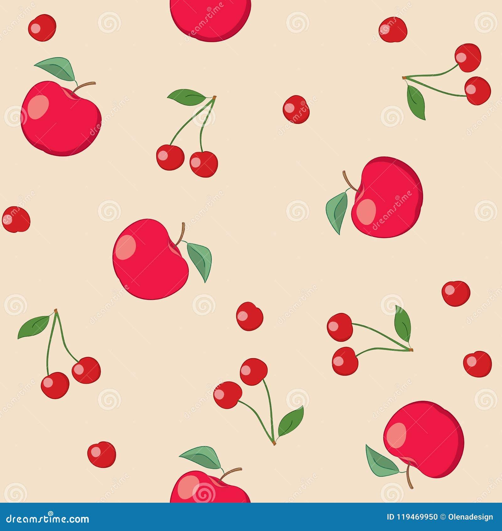 Pommes et cerises rouges sur le fond beige - modèle sans couture de vecteur