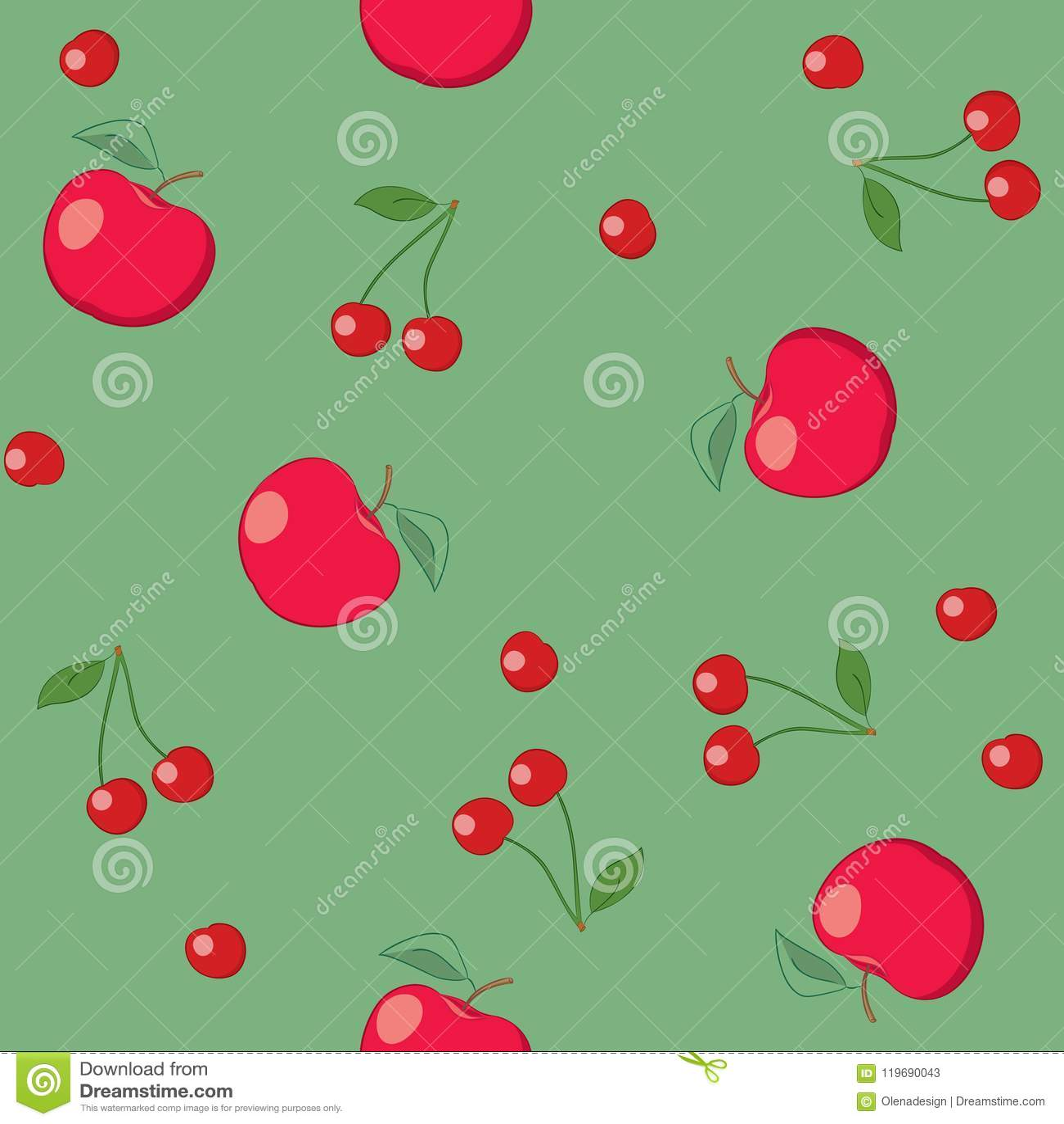 Pommes et cerises rouges sur le fond vert - vecteur sans couture