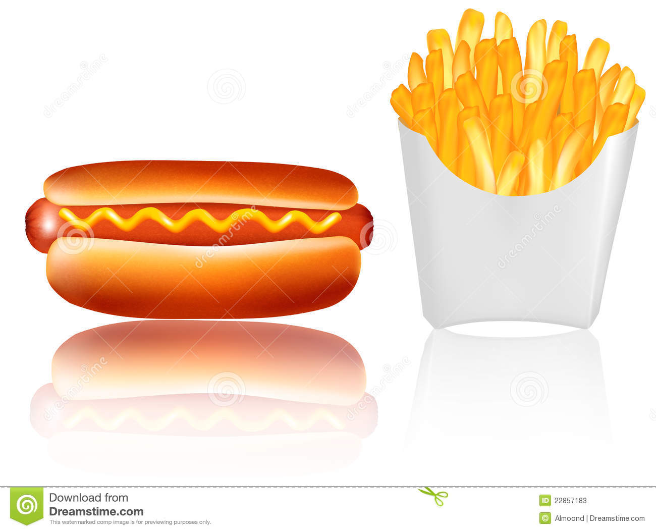 pommes frites avec un hot dog vecteur illustration de vecteur image 22857183. Black Bedroom Furniture Sets. Home Design Ideas