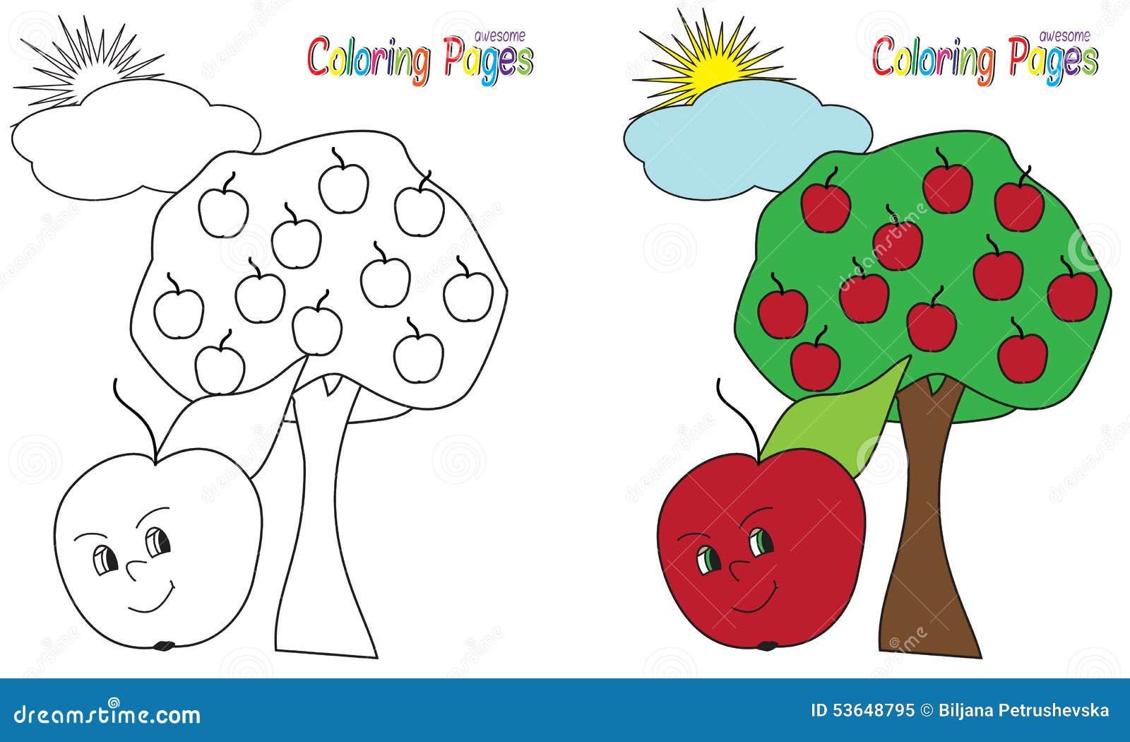 Pommier de livre de coloriage illustration de vecteur - Pommier coloriage ...