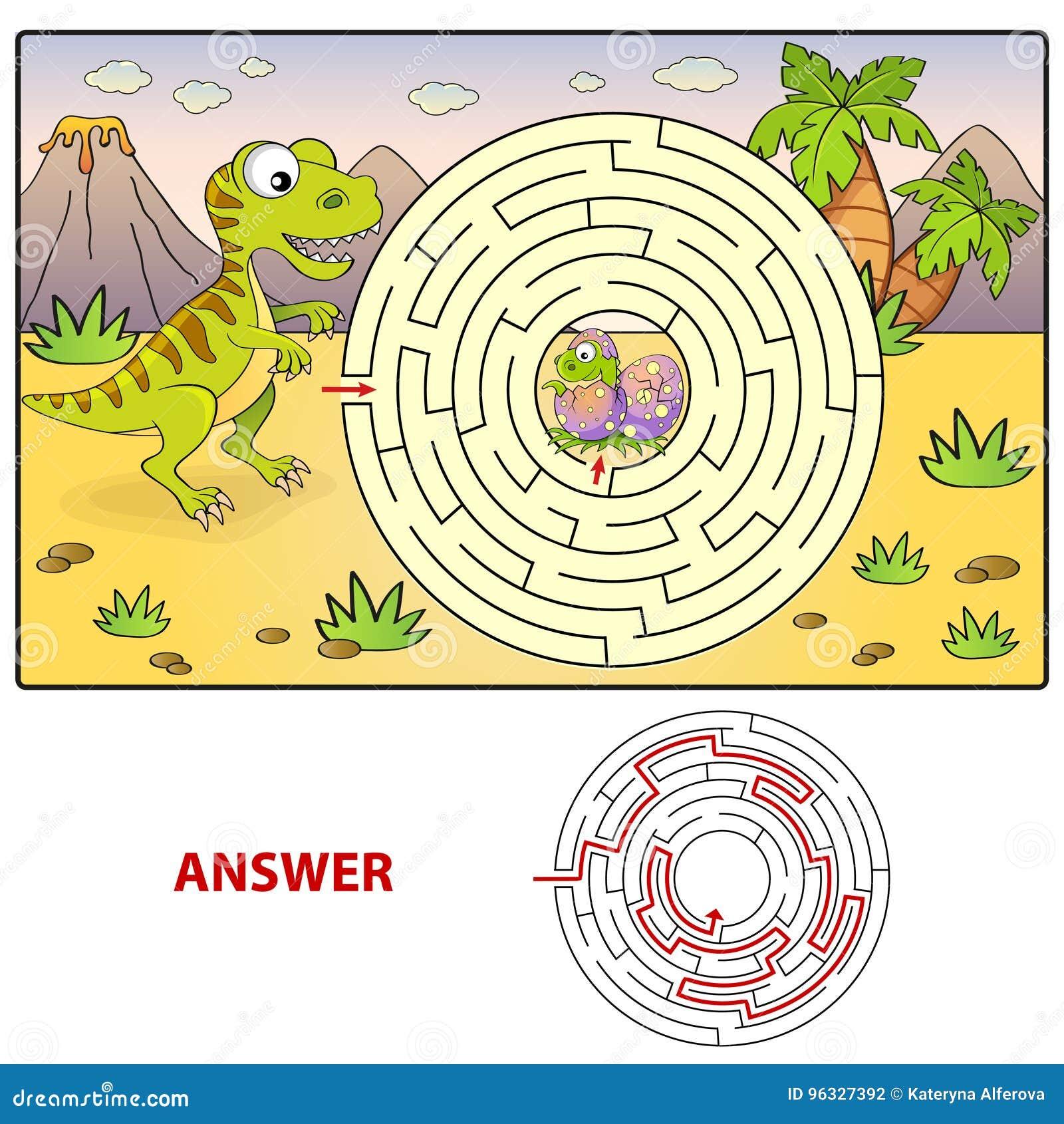 Pomoc dinosaura znaleziska ścieżka gniazdować labitynt Dla dzieciaków labirynt gra