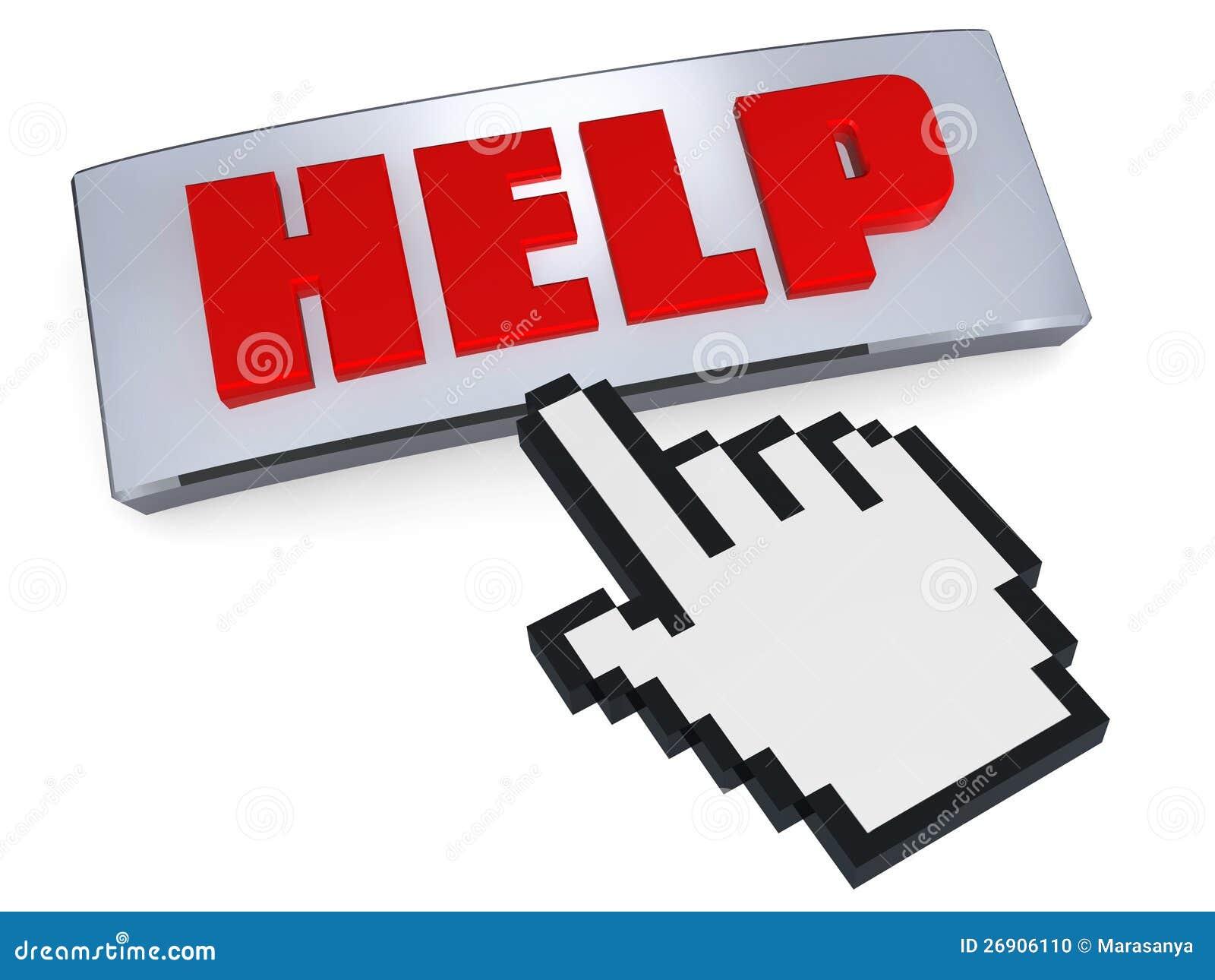 Pomoc guzik naciskający ręki pointerem