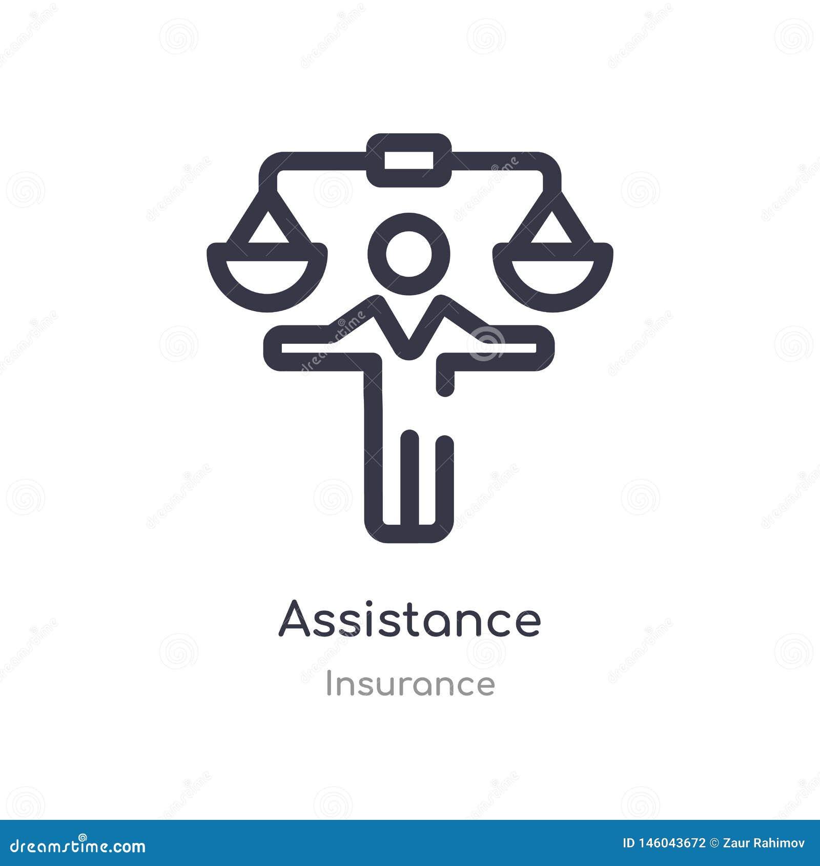 Pomoc konturu ikona odosobniona kreskowa wektorowa ilustracja od asekuracyjnej kolekcji editable cienieje uderzenie pomocy ikonę