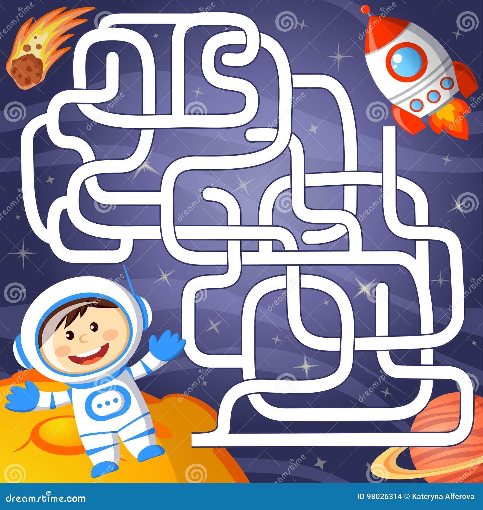 Pomoc kosmonauta znaleziska ścieżka podskakiwać labitynt Labirynt gra dla dzieciaka