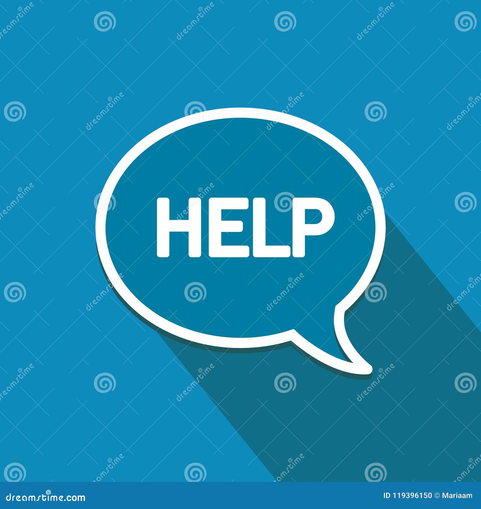 Pomoc! Płaska projekt ikona Mowa bąbel, online komunikacje i networking,