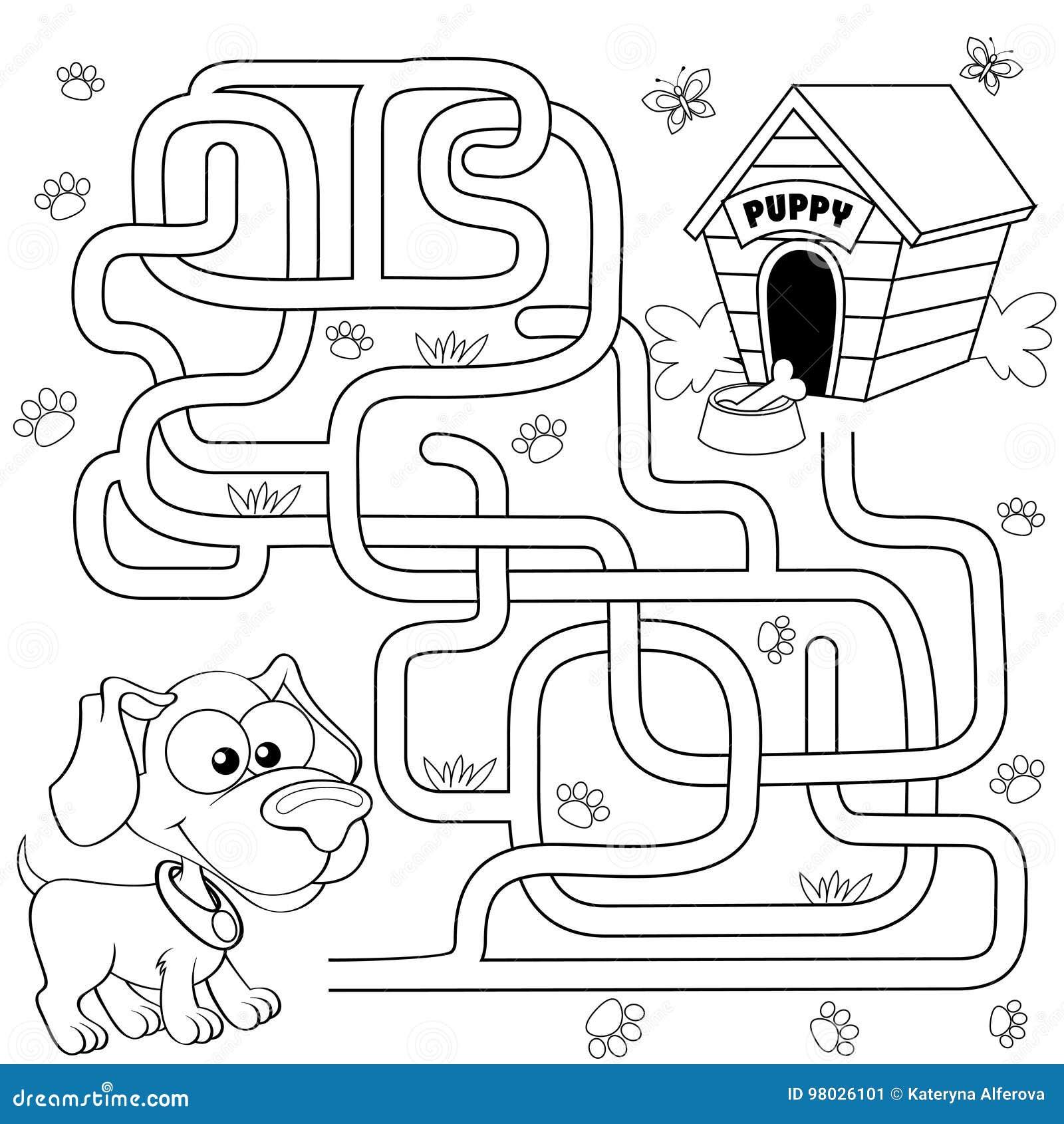 Pomoc szczeniaka znaleziska ścieżka jego dom labitynt Dla dzieciaków labirynt gra