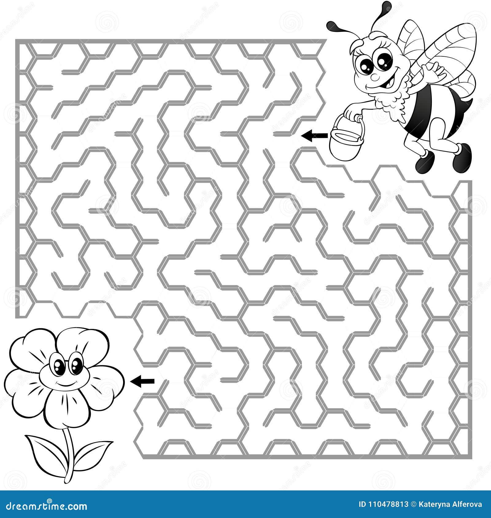 Pomocy pszczoły znaleziska ścieżka kwitnąć labitynt Dla dzieciaków labirynt gra Czarny i biały wektorowa ilustracja dla kolorysty