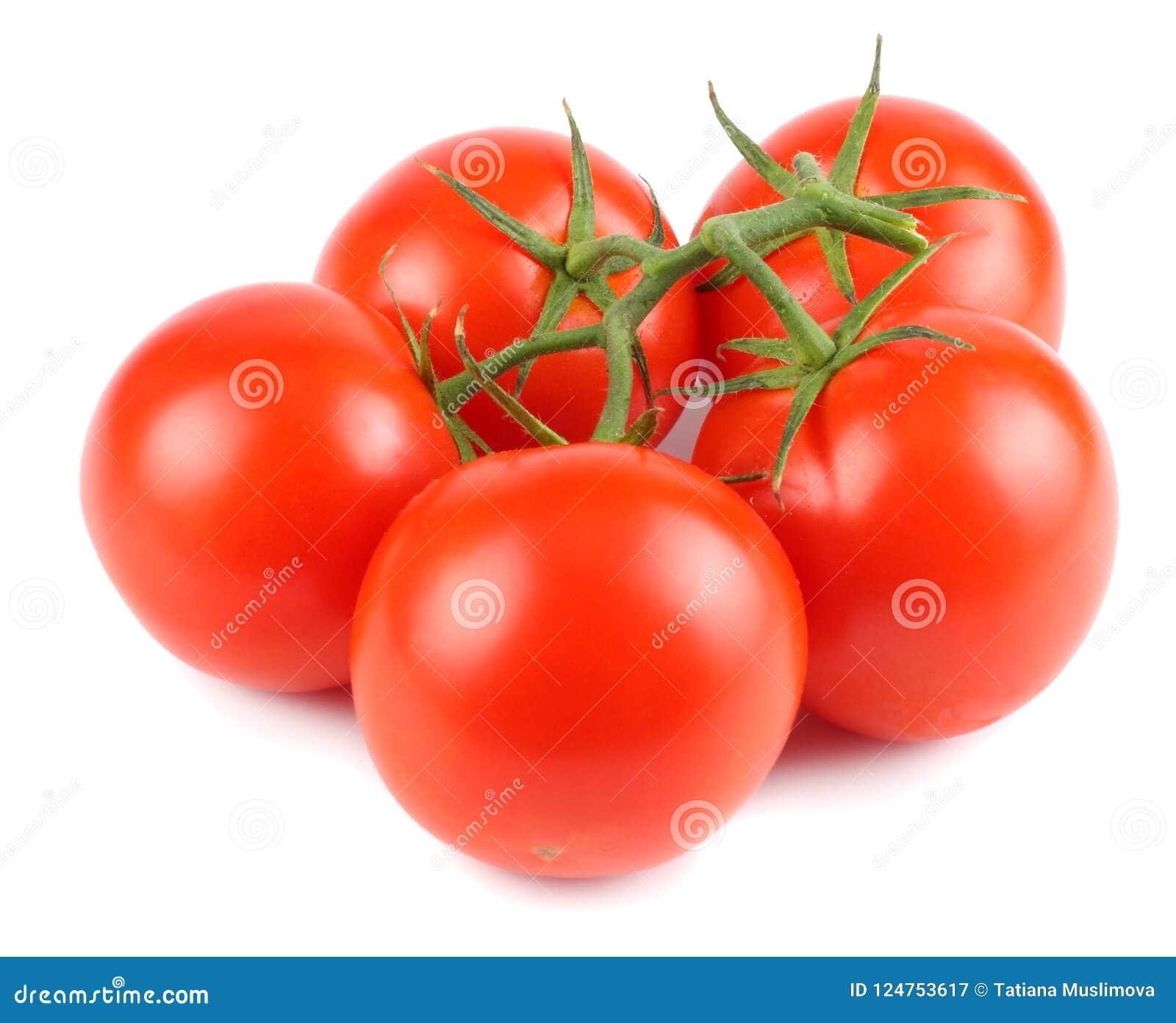 Pomodoro fresco isolato su priorità bassa bianca Fine in su