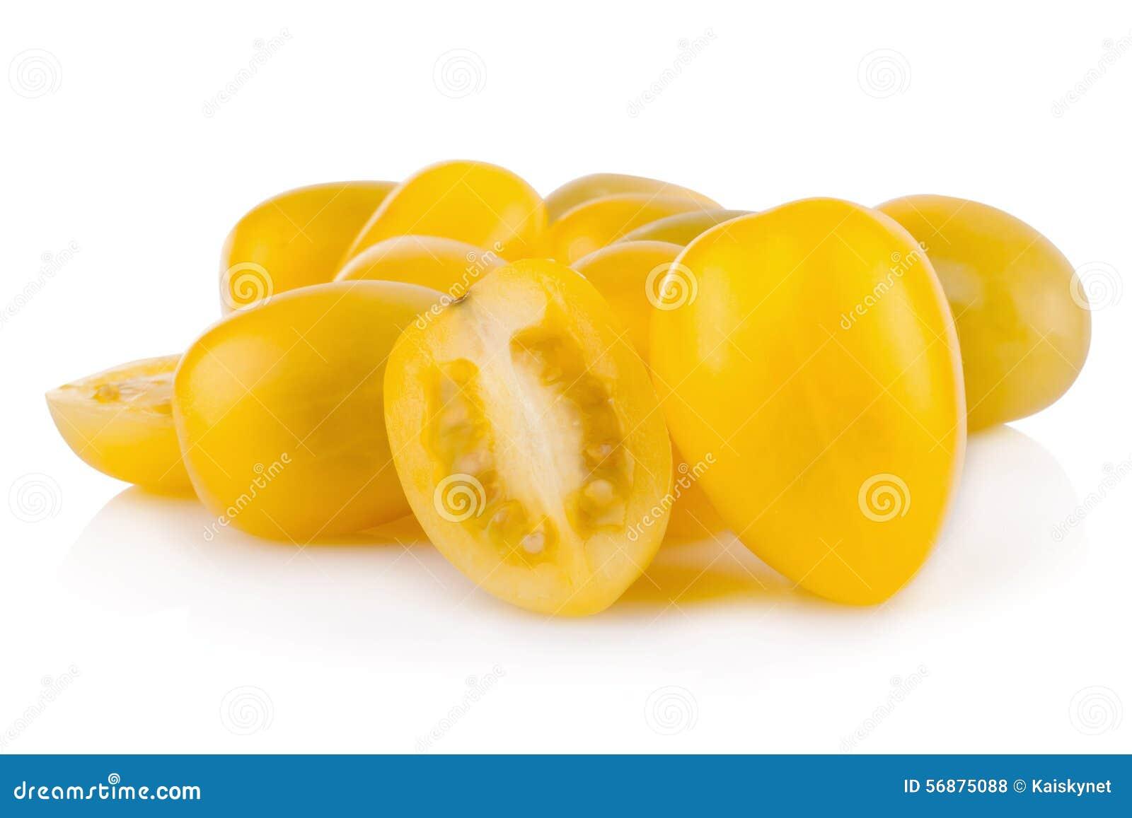 Pomodoro giallo isolato su fondo bianco