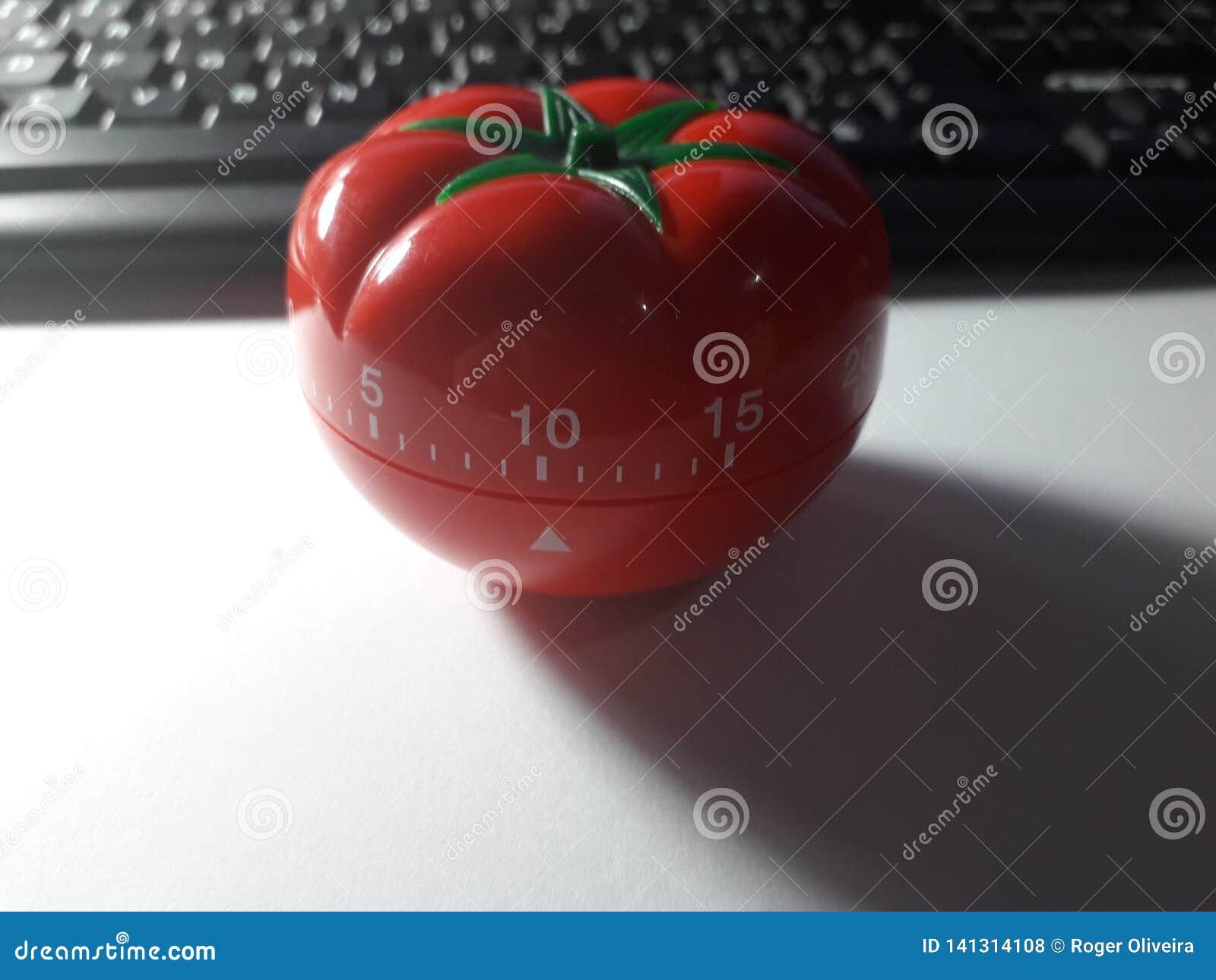 Pomodoro zegar - machinalny pomidor kształtował kuchennego zegar dla gotować lub studiować