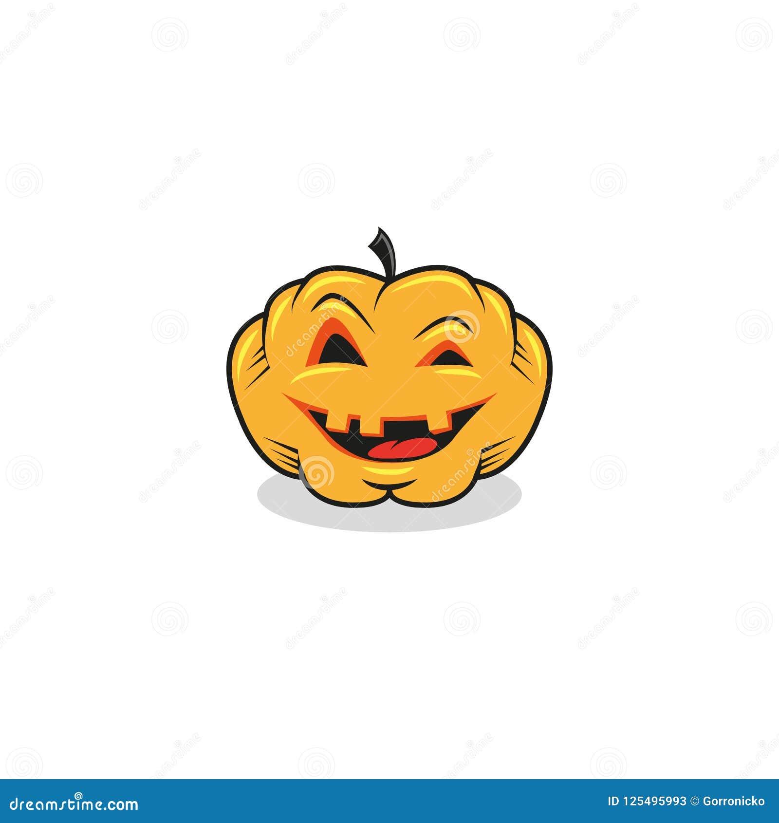 Pompoen van Halloween van de beeldverhaalillustratie de feestelijke op een witte achtergrond