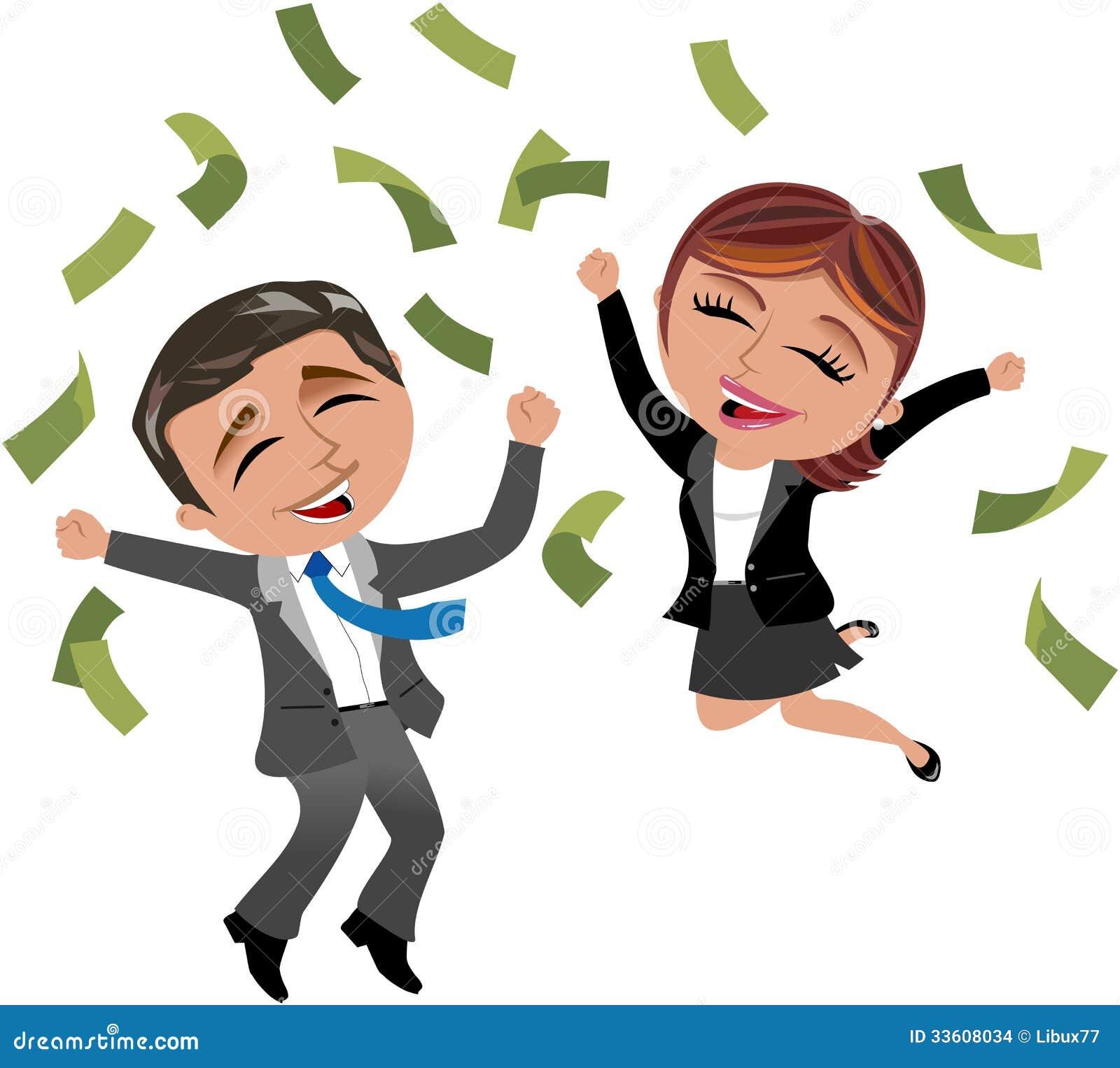 Pomyślna Biznesowa kobieta i mężczyzna pod pieniądze deszczem