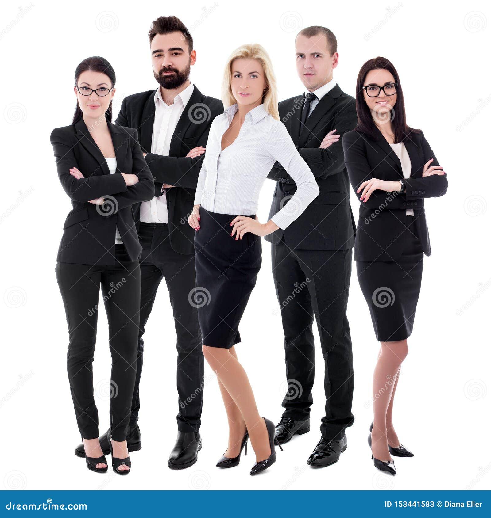 Pomyślna drużyna - młodzi ludzie biznesu w czerń kostiumach odizolowywających na bielu