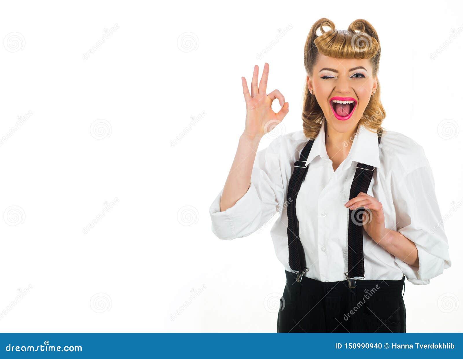 Pomyślna kobiety i kopii przestrzeń biznesowa szcz??liwa dama Znak sukces Ok gest szcz??liwy dziewczyna u?miech