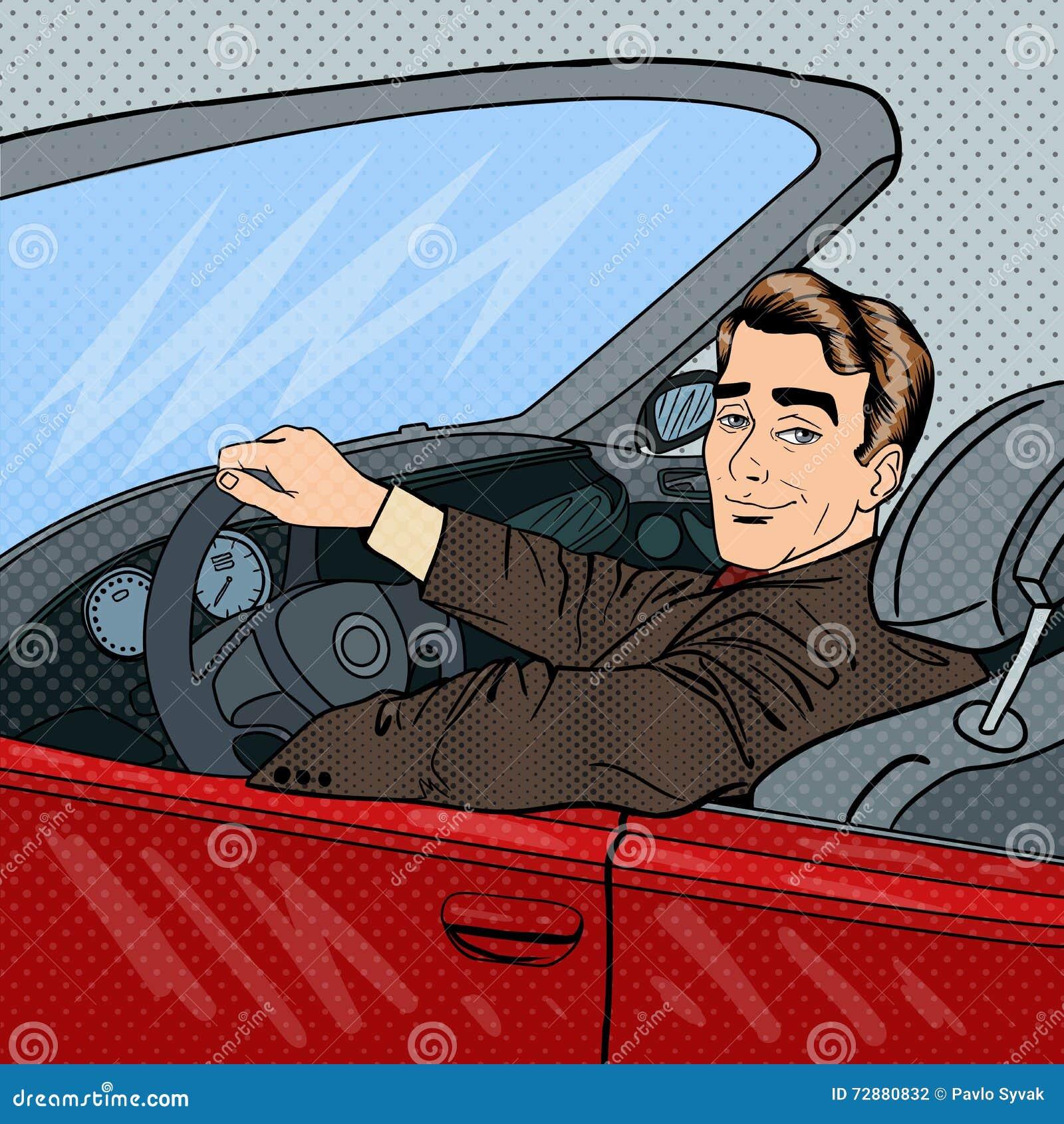 Pomyślny biznesmen w Luksusowym samochodzie Mężczyzna Jedzie kabriolet