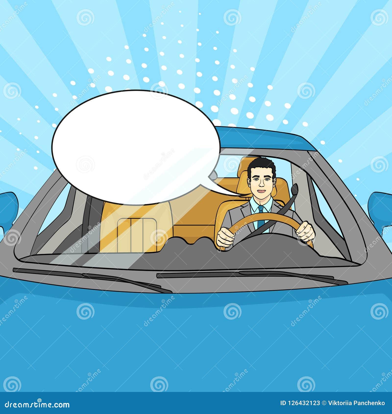 Pomyślny biznesmen w Luksusowym samochodzie Mężczyzna Jedzie kabriolet Wystrzał sztuka wektorowy teksta bąbel