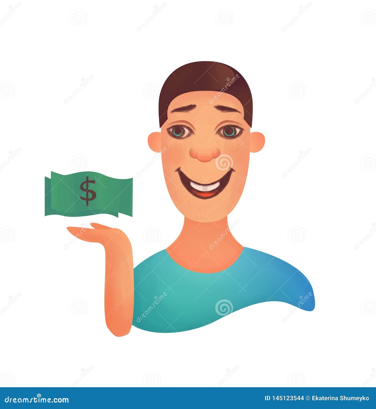Pomyślny biznesmen z dolarami